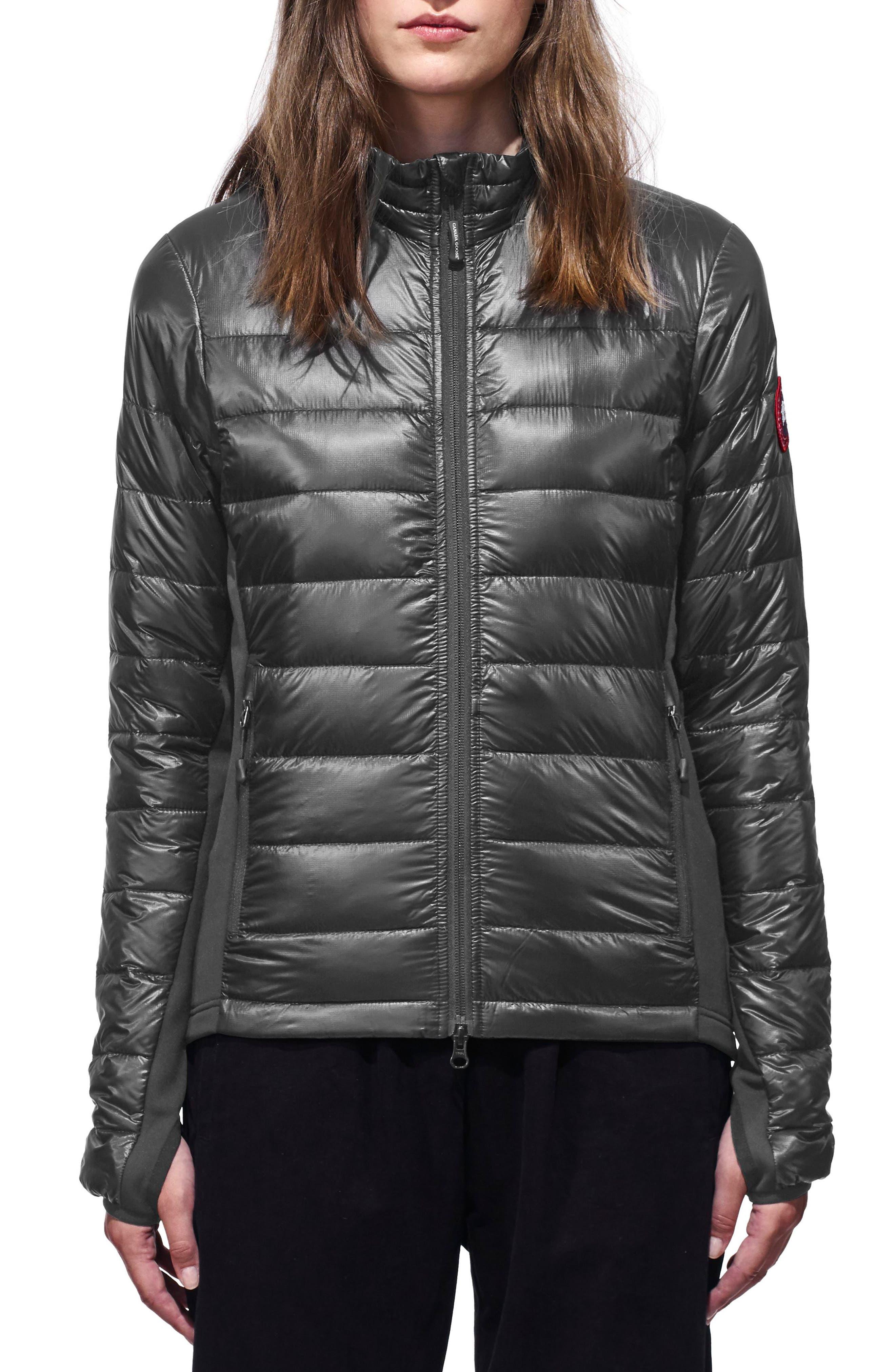'Hybridge Lite' Slim Fit Mixed Media Down Jacket,                         Main,                         color, S GRAPHITE/ L BLACK