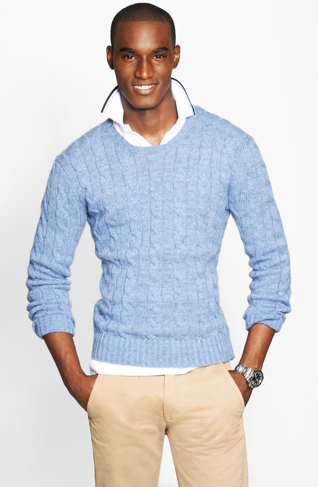 Cable Knit Cashmere Sweater,                             Main thumbnail 1, color,                             420
