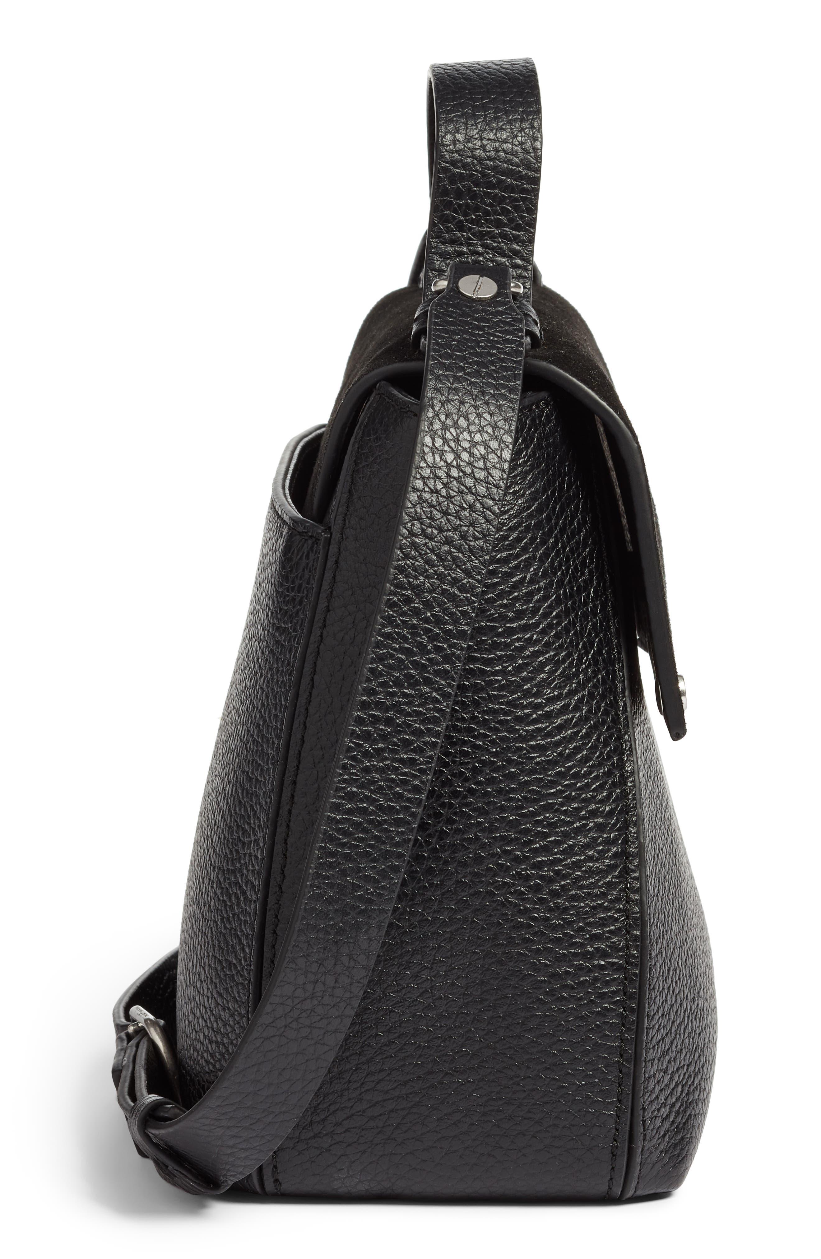 Skyler Leather Top Handle Bag,                             Alternate thumbnail 5, color,                             BLACK