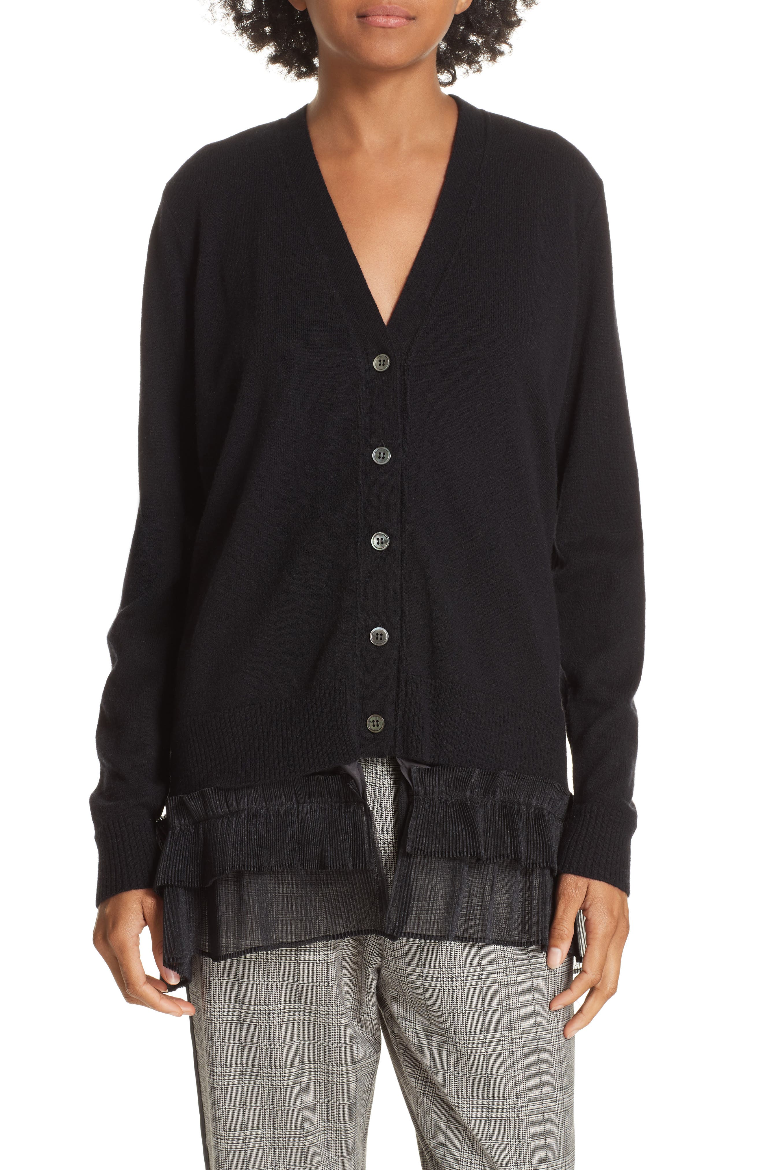 Ruffle Hem Wool Cardigan,                             Main thumbnail 1, color,                             BLACK
