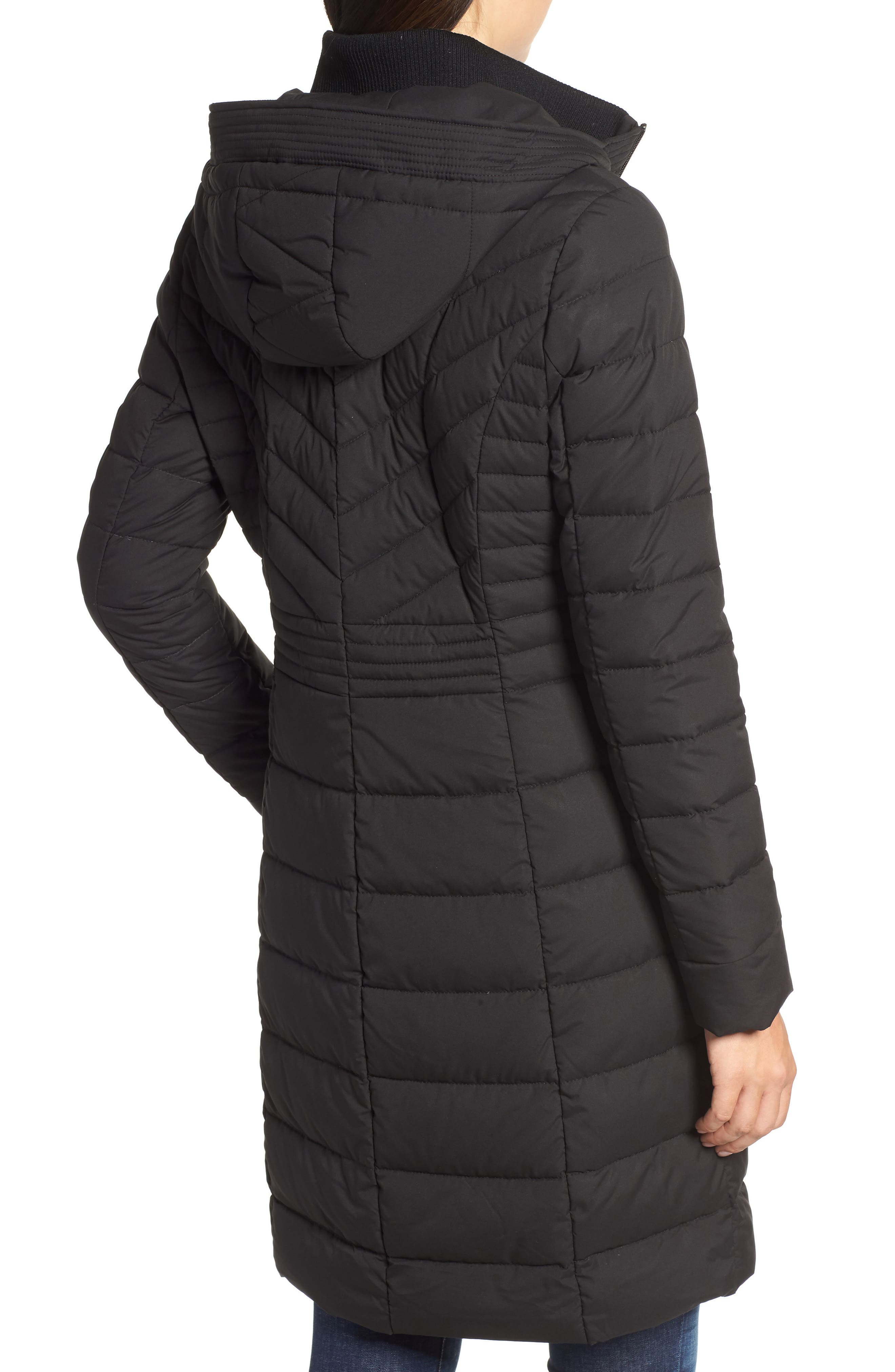 Stretch Quilted Walker Coat,                             Alternate thumbnail 2, color,                             001