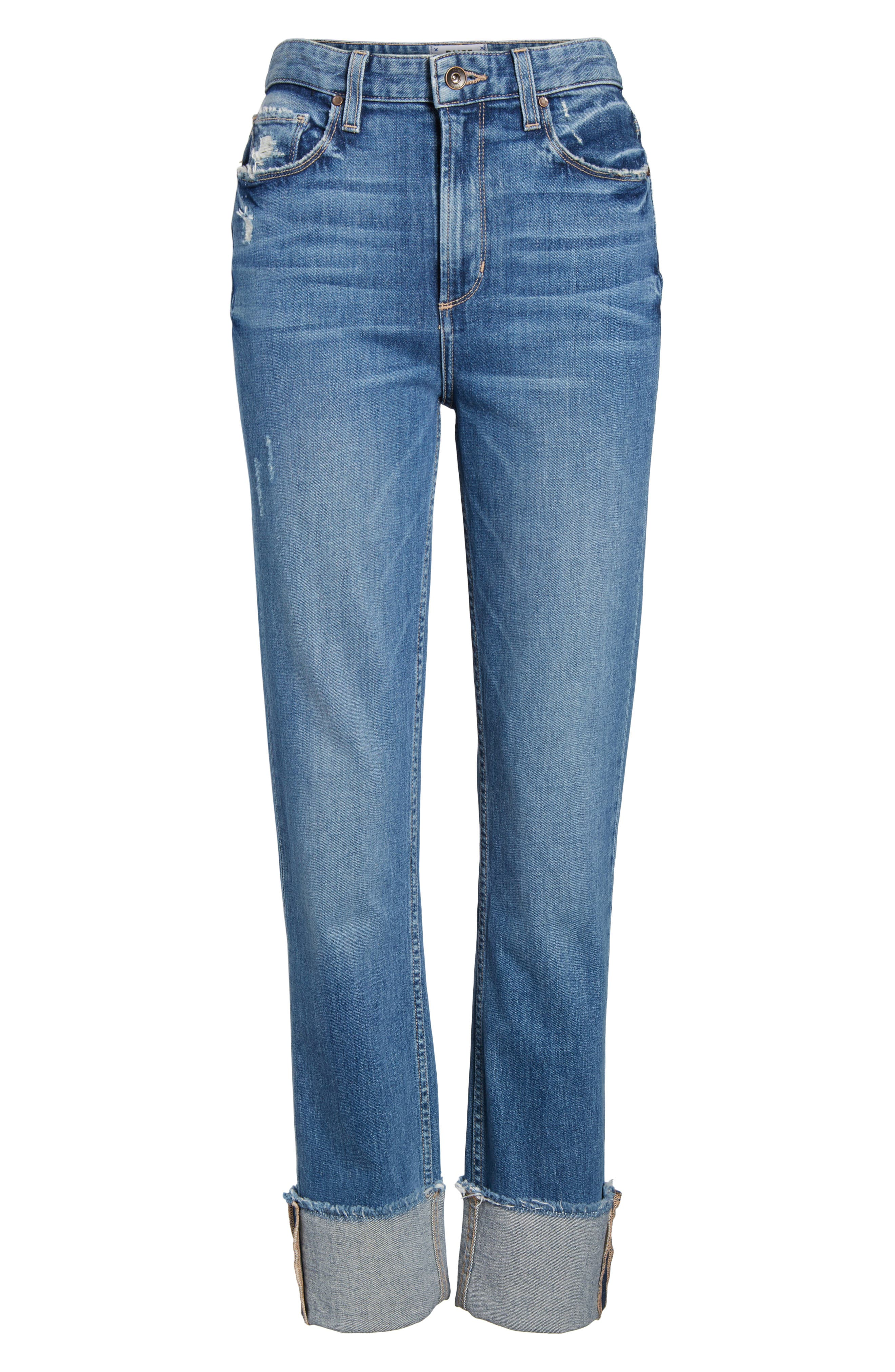 Sarah High Waist Straight Leg Jeans,                             Alternate thumbnail 7, color,                             400