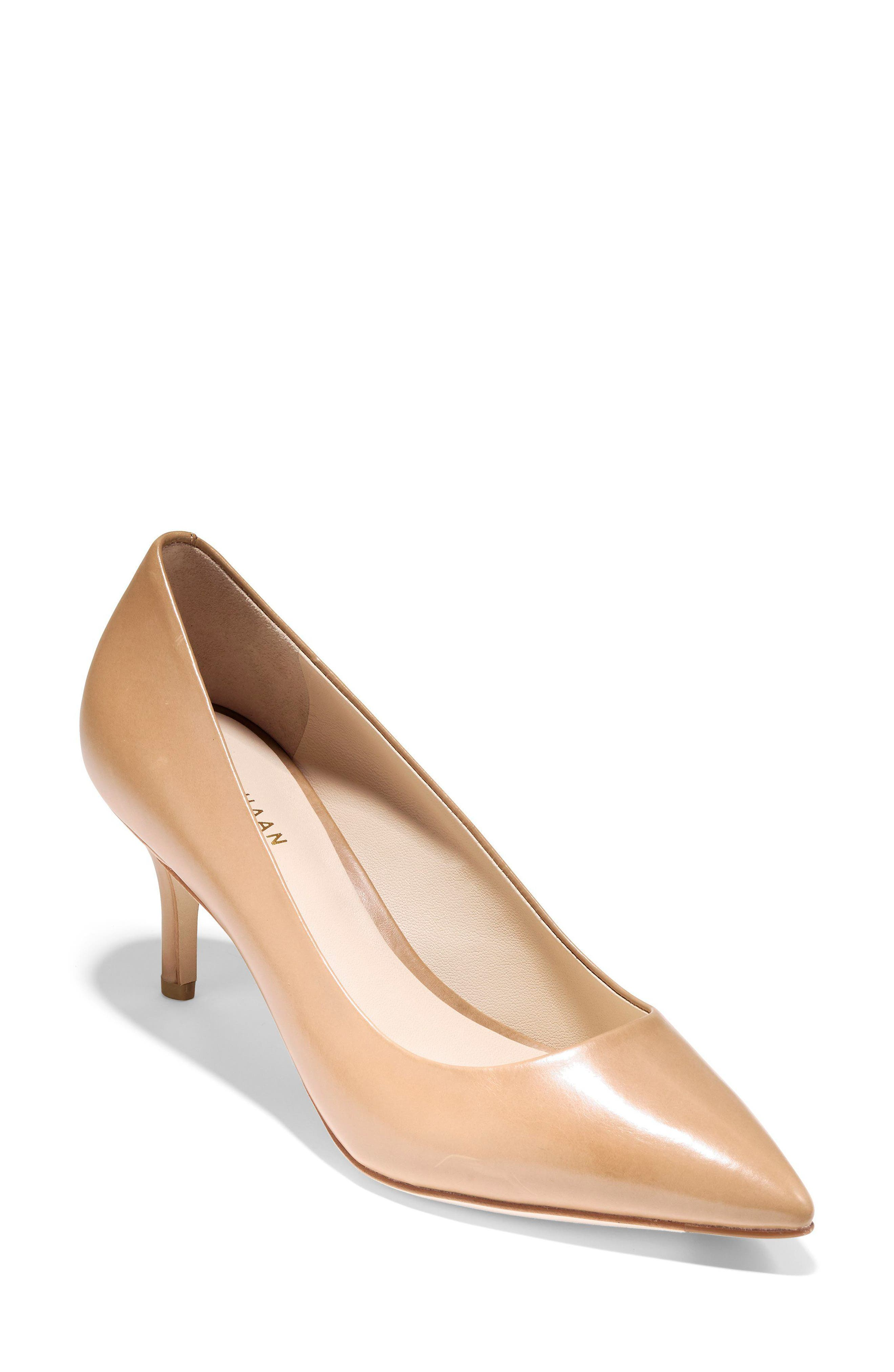 Women'S Vesta Leather Pointed Toe Mid-Heel Pumps in Nude Leather