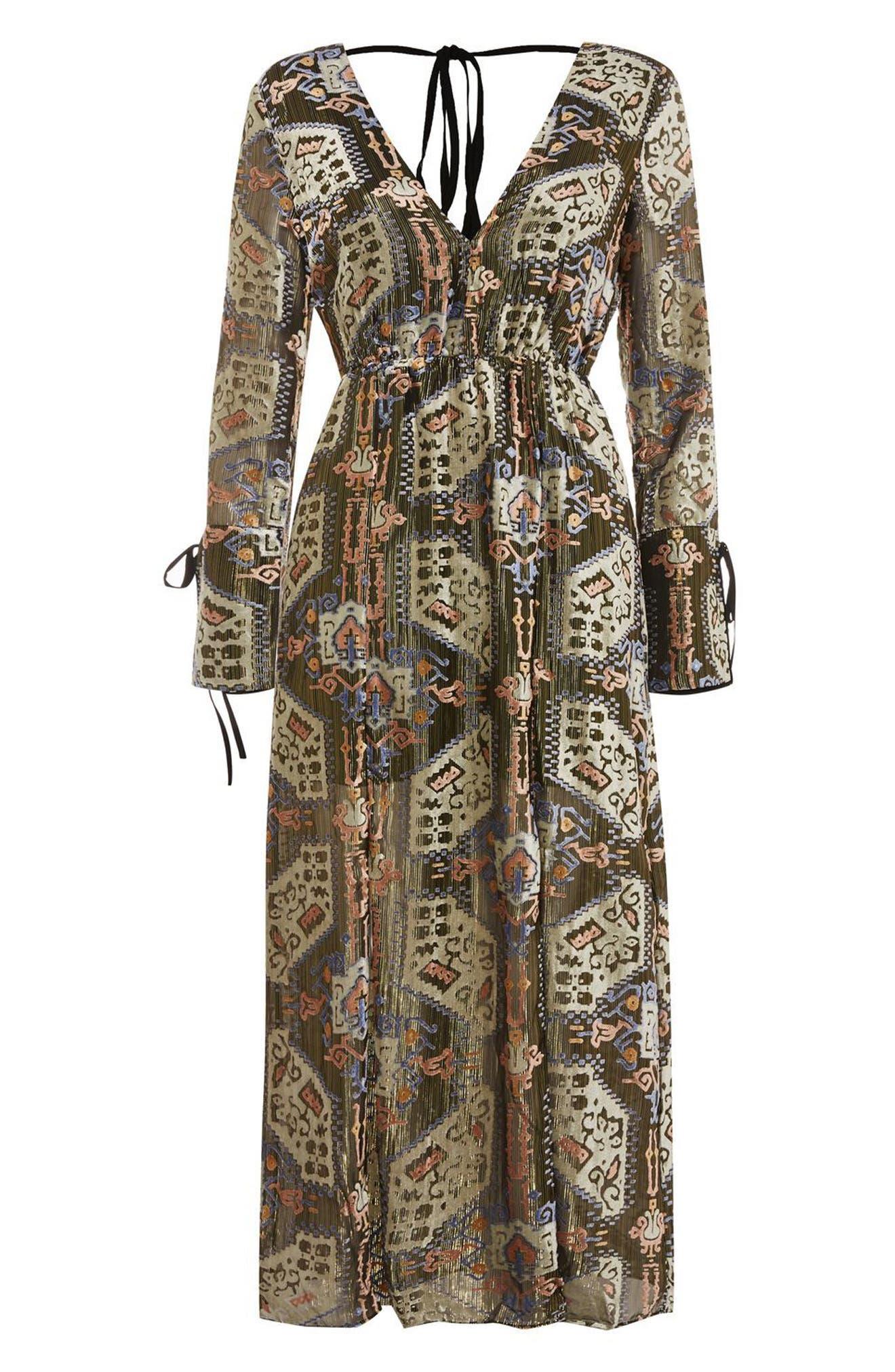 Devore Plunge Neck Dress,                             Alternate thumbnail 4, color,                             310