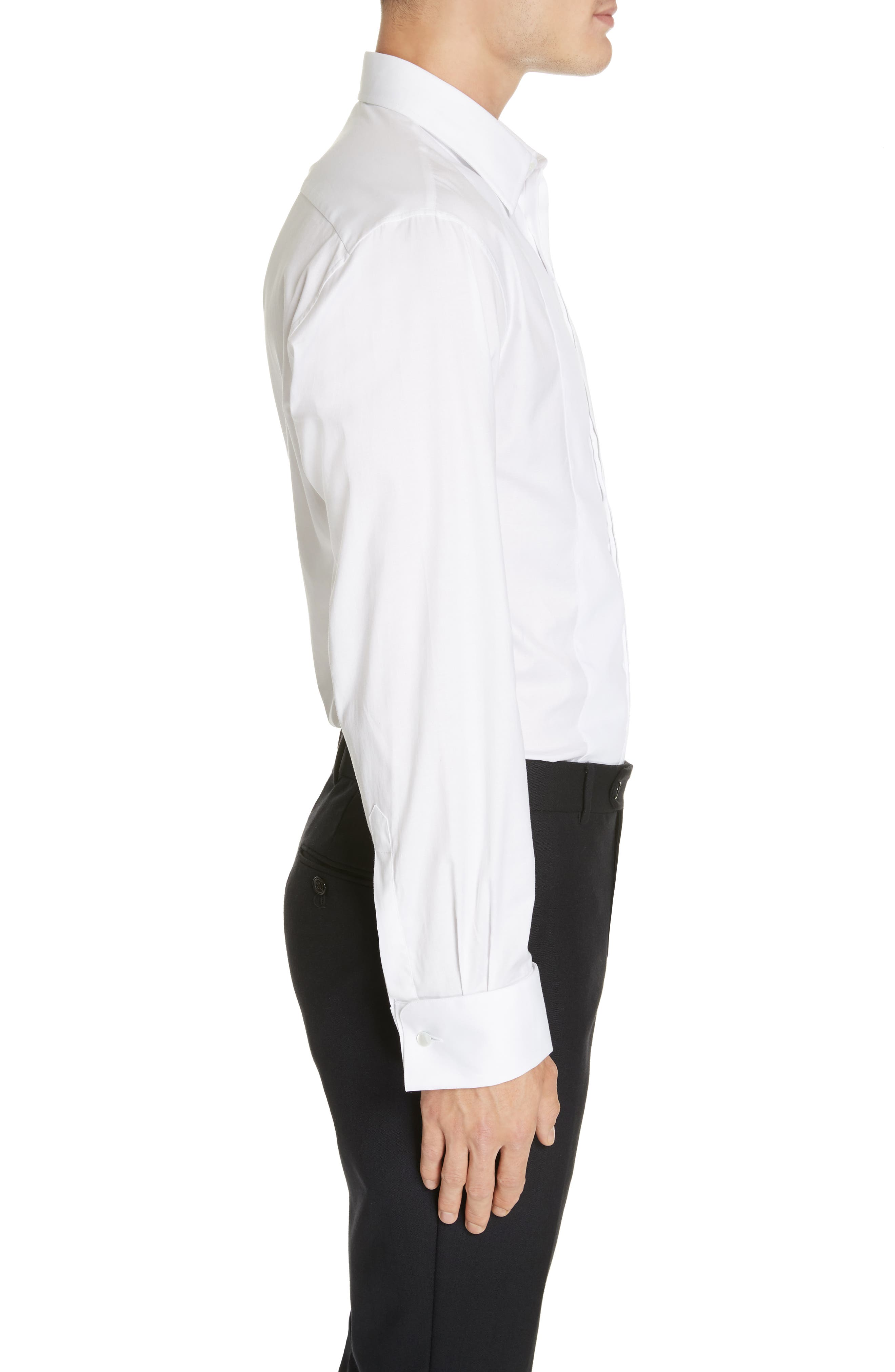 Trim Fit Stretch Tuxedo Shirt,                             Alternate thumbnail 4, color,                             SOLID WHITE
