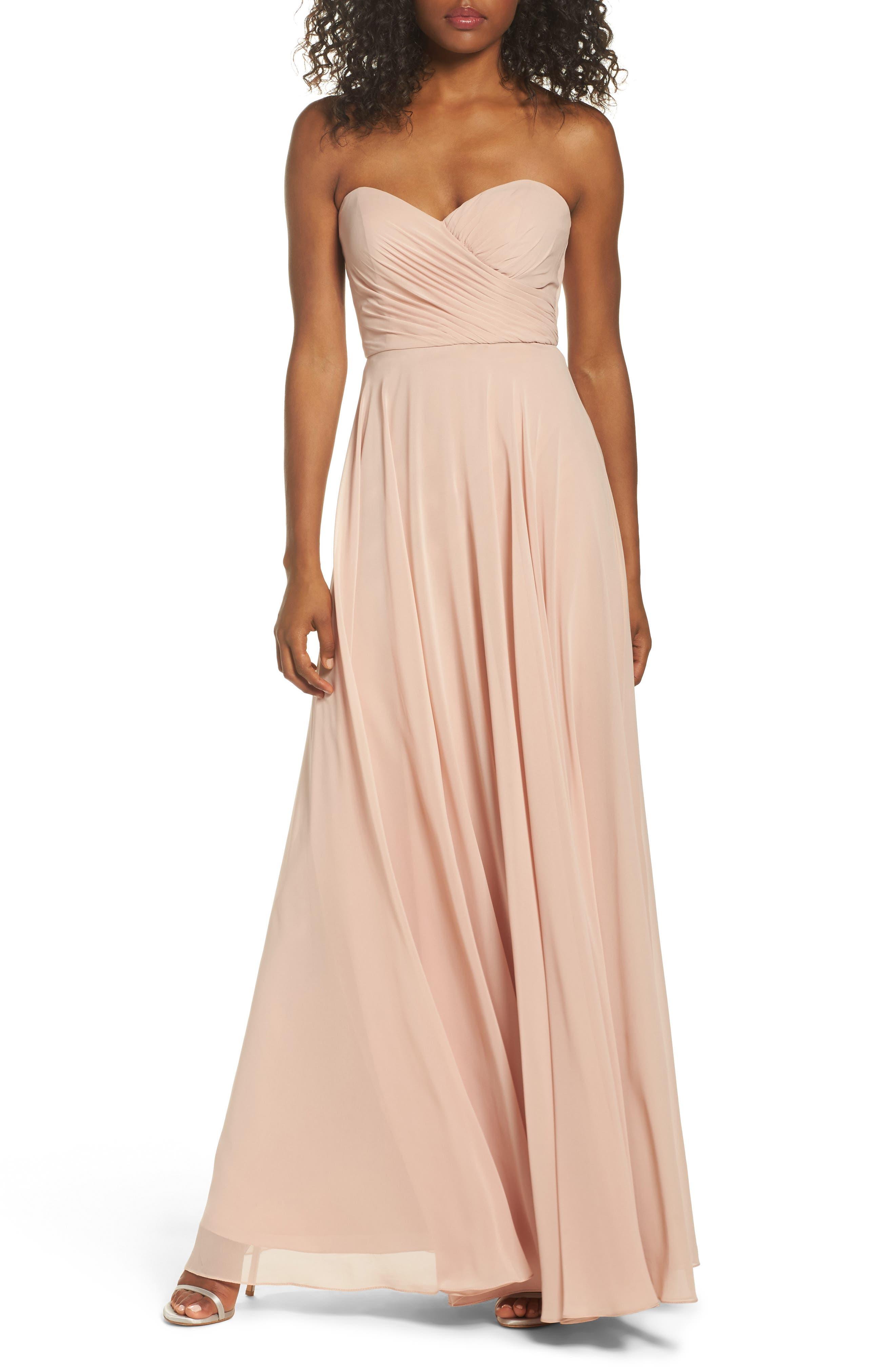 Adeline Strapless Chiffon Gown,                         Main,                         color, DESERT ROSE