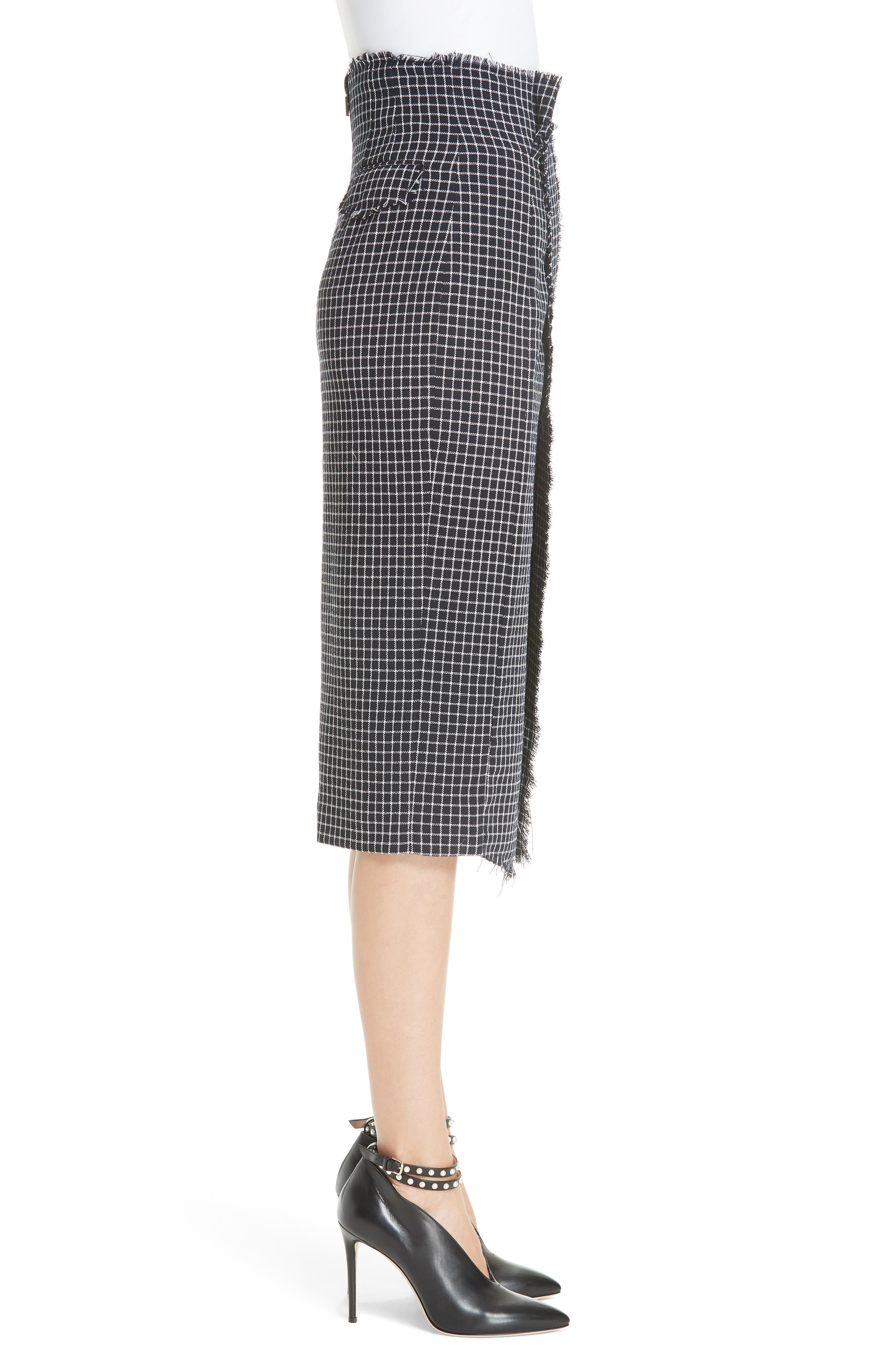 JASON WU COLLECTION,                             Wool Check Skirt,                             Alternate thumbnail 3, color,                             001