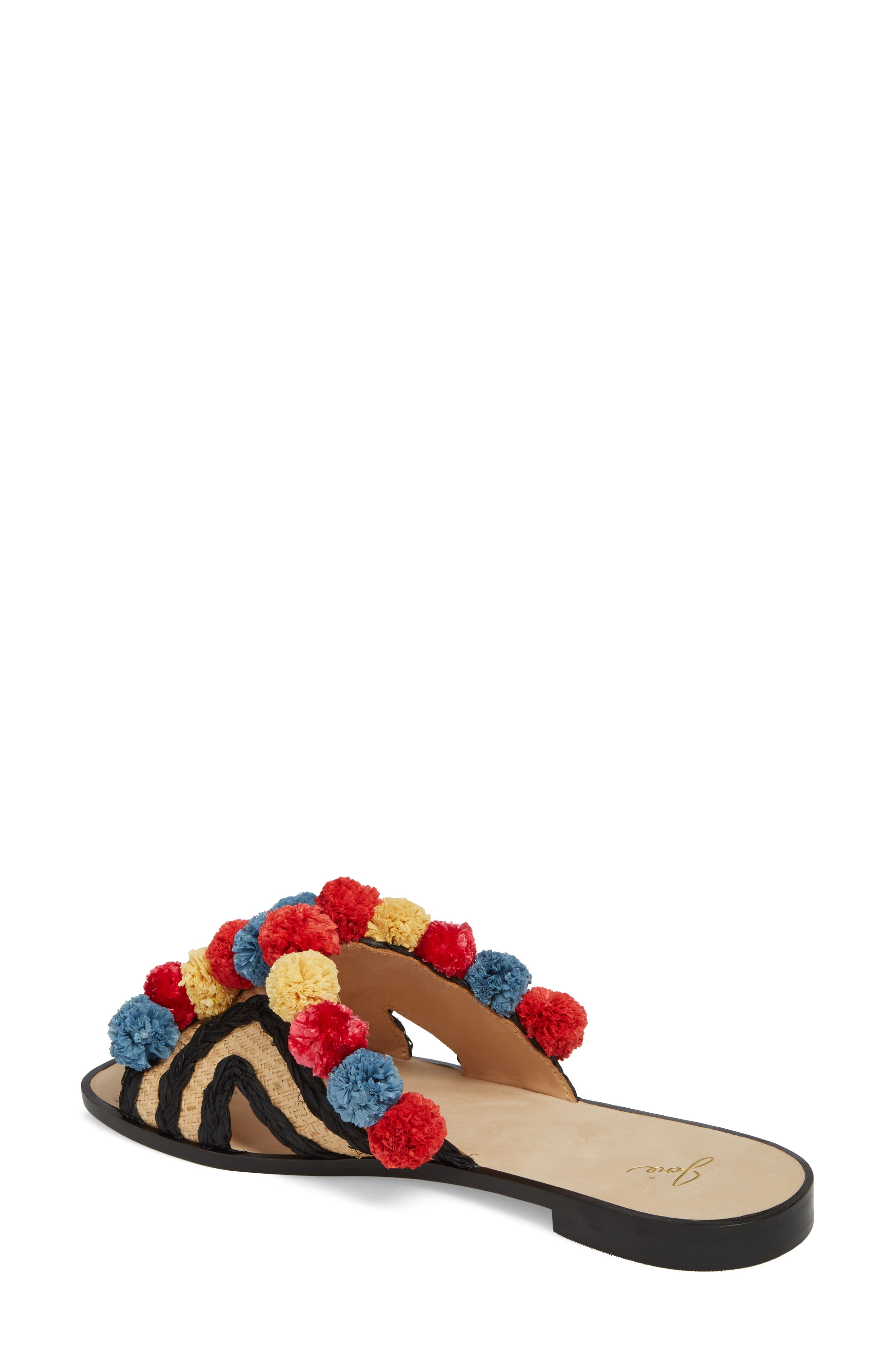 Paden Pompom Slide Sandals,                             Alternate thumbnail 2, color,                             002