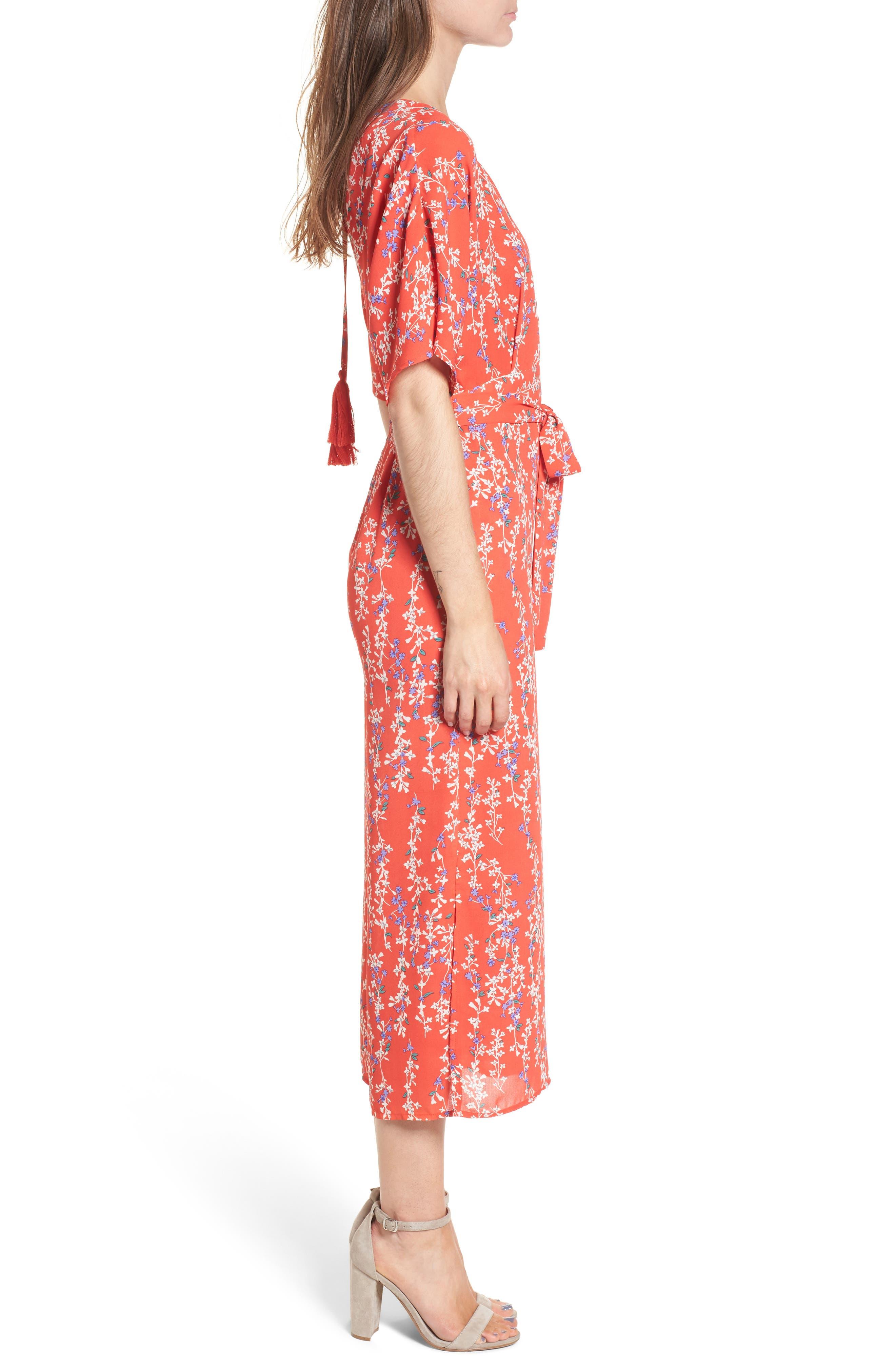 Floral Open Back Jumpsuit,                             Alternate thumbnail 3, color,                             RED MULTI