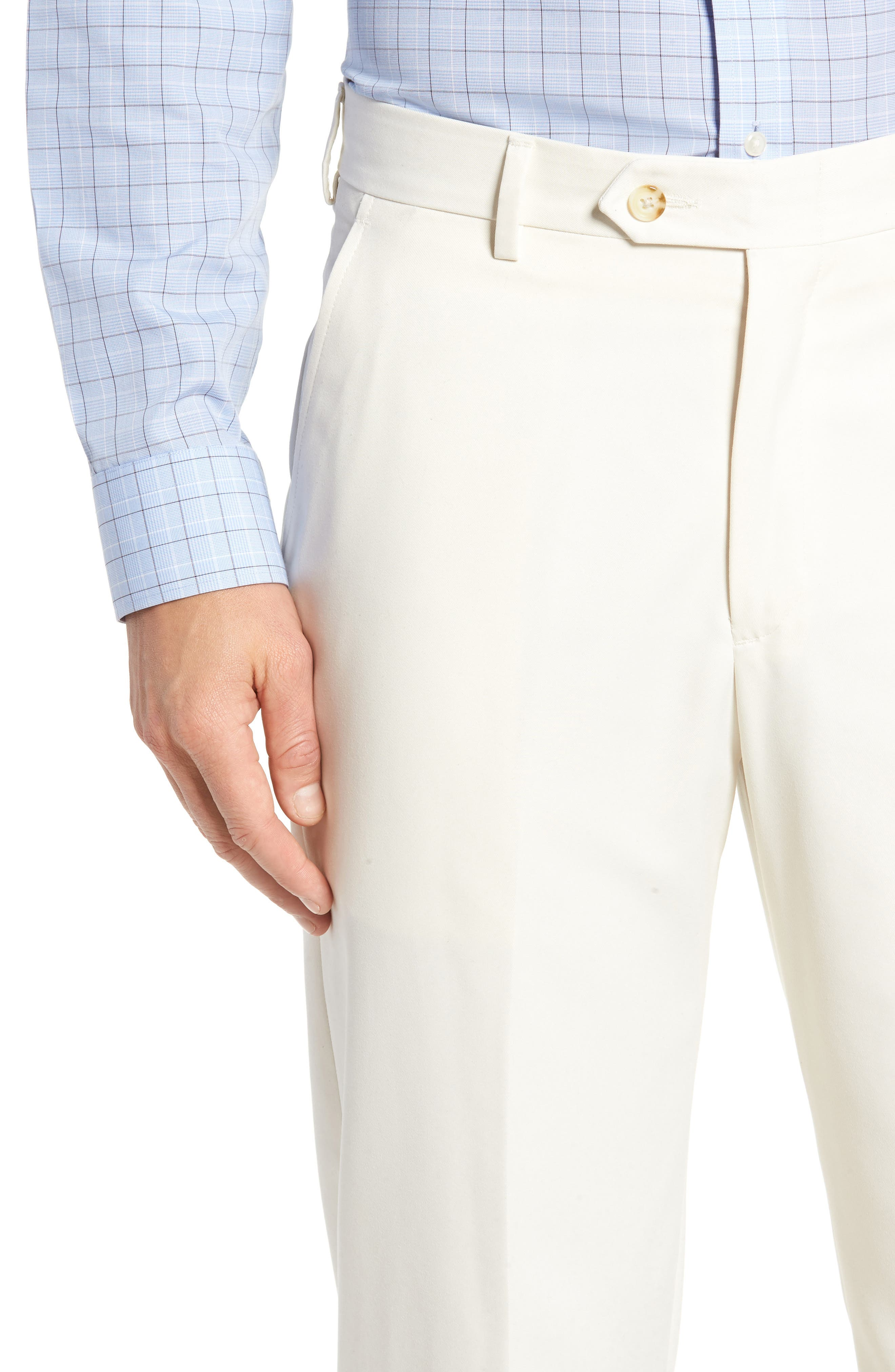 Classic Fit Flat Front Microfiber Performance Trousers,                             Alternate thumbnail 4, color,                             OFF WHITE