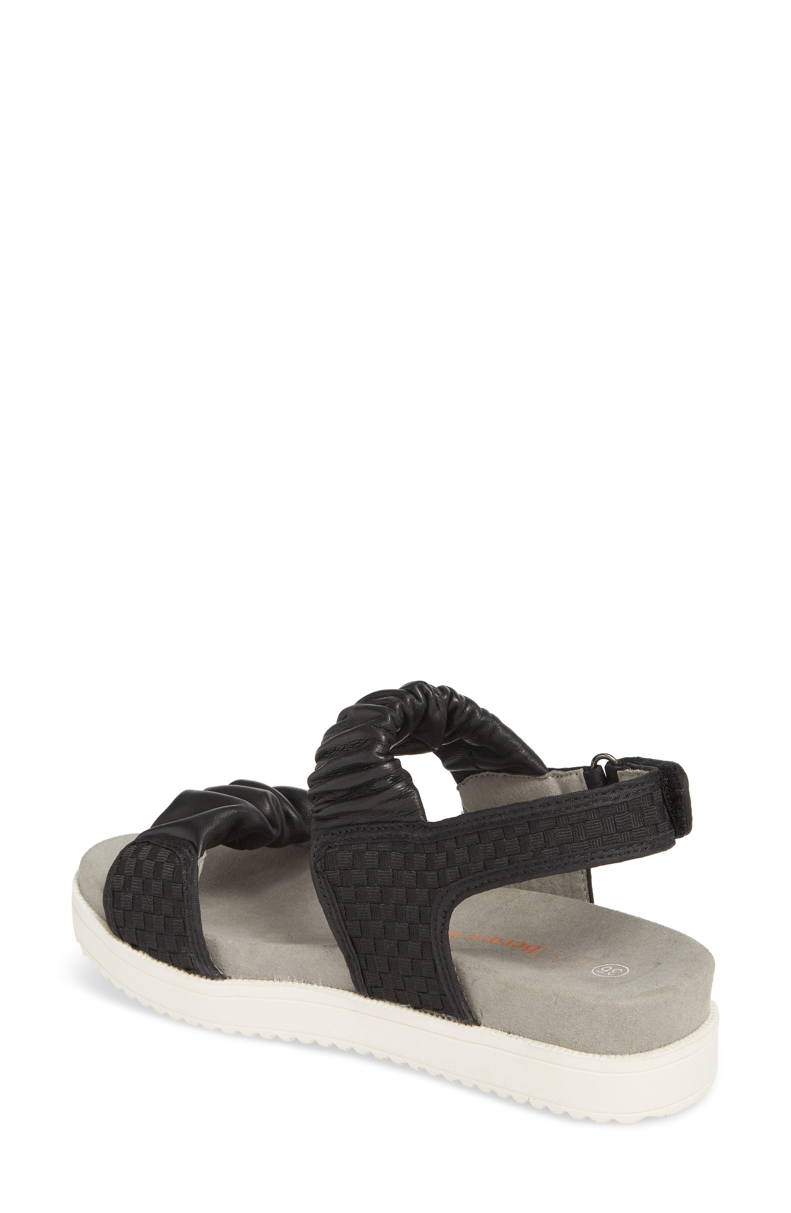 Fiji Sandal,                             Alternate thumbnail 2, color,                             BLACK/ BLACK LEATHER