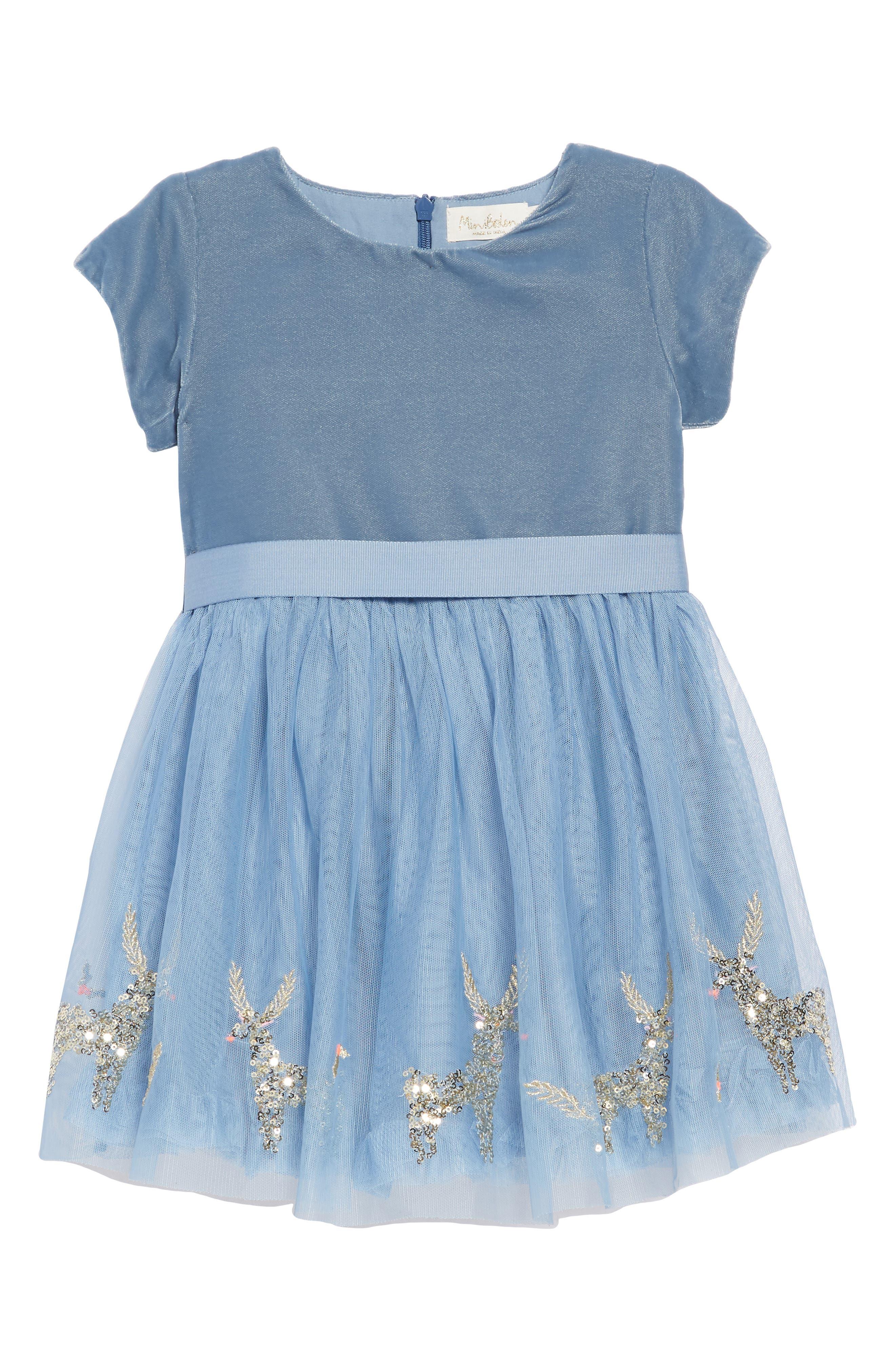 Girls Mini Boden Velvet  Tulle Applique Party Dress Size 1112Y  Blue