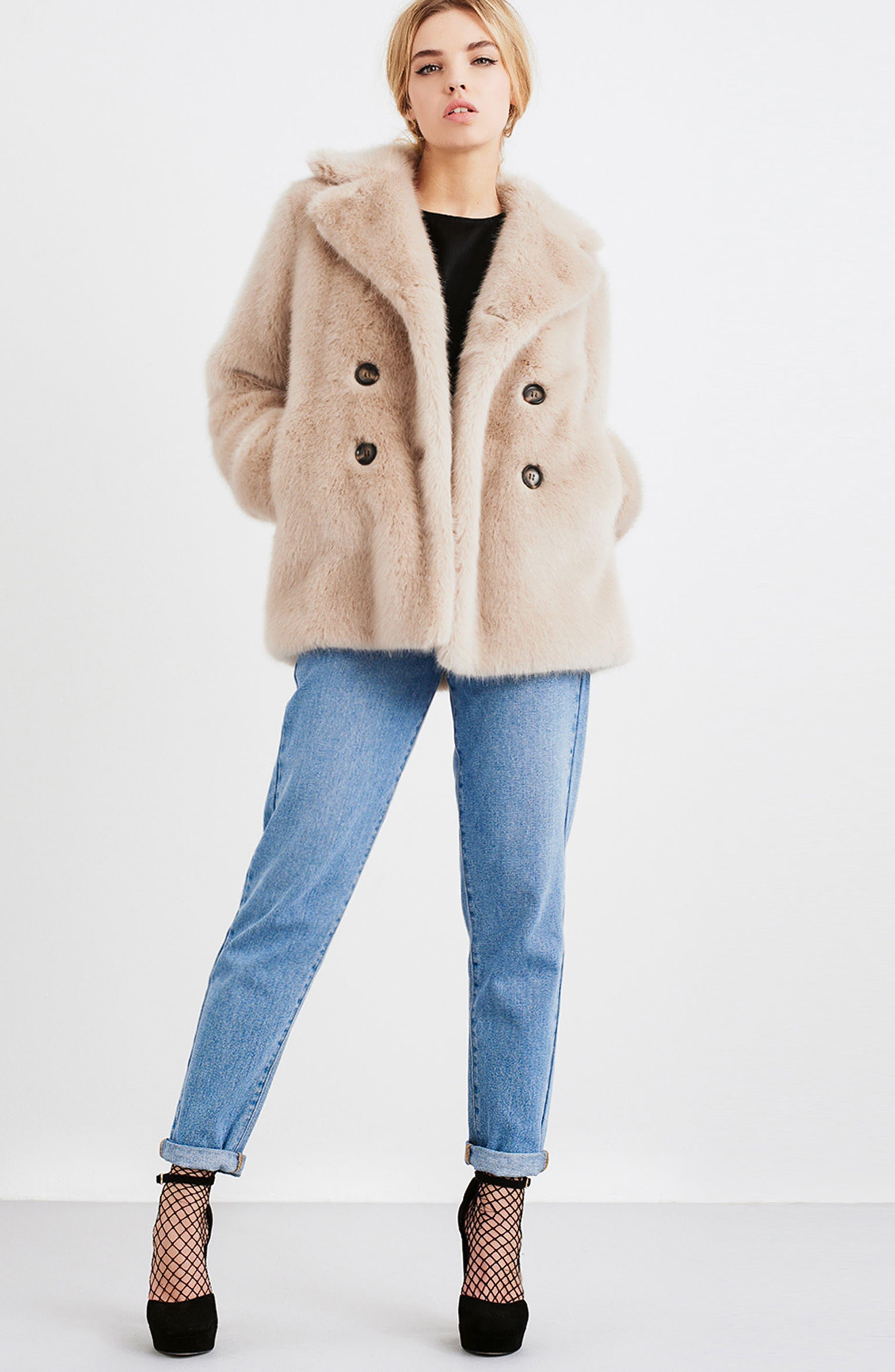 Faux Fur Coat,                             Alternate thumbnail 7, color,                             900