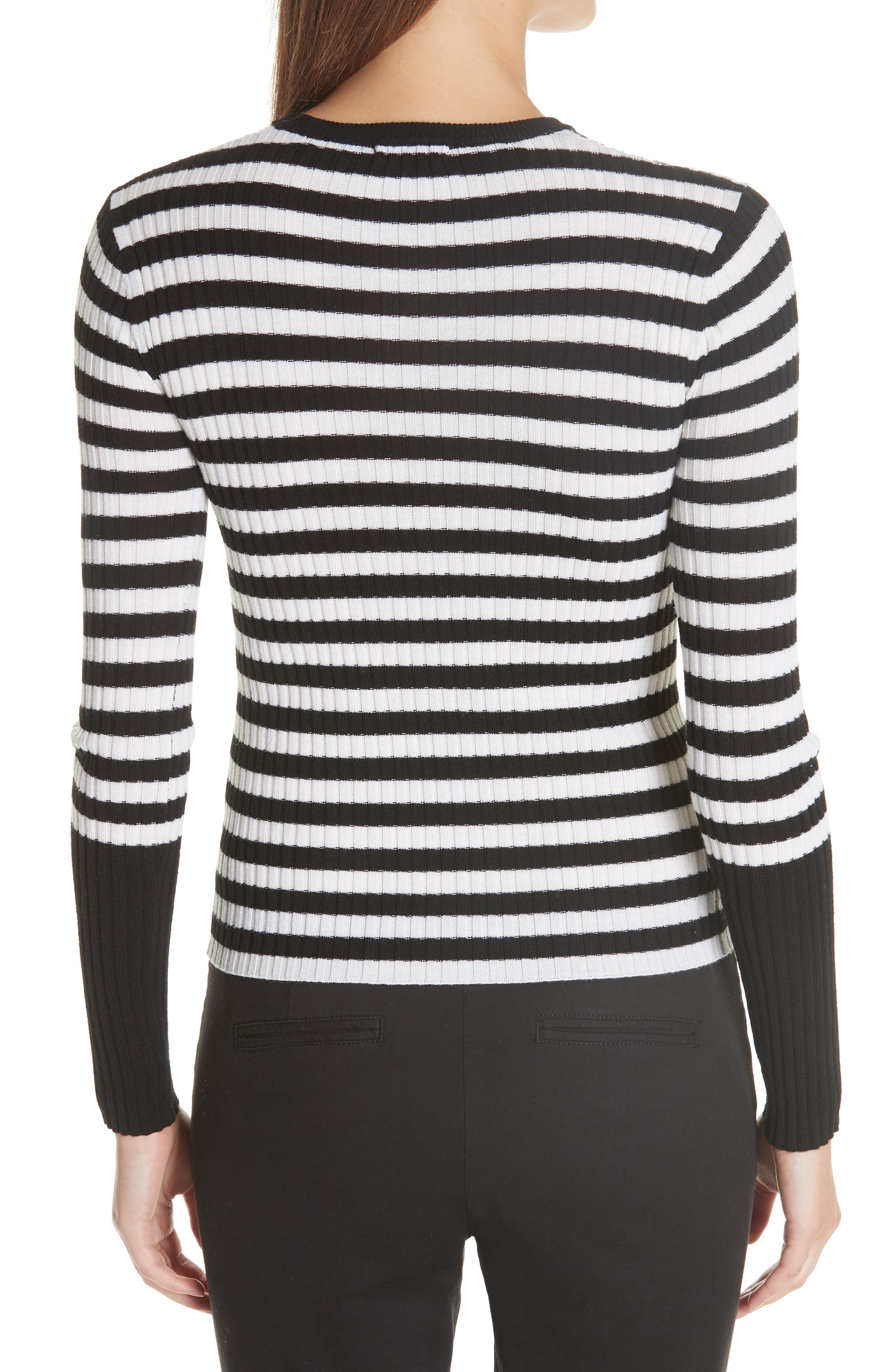 Stripe Rib Merino Wool Sweater,                             Alternate thumbnail 2, color,                             BLACK/ WHITE STRIPE