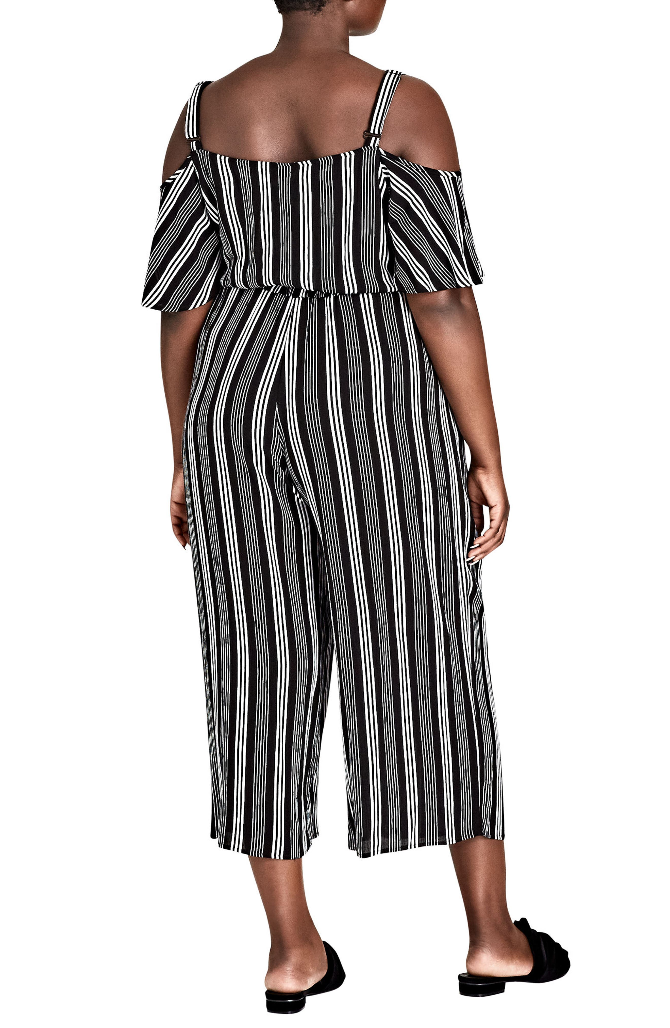 Stripe Play Cold Shoulder Jumpsuit,                             Alternate thumbnail 2, color,                             001