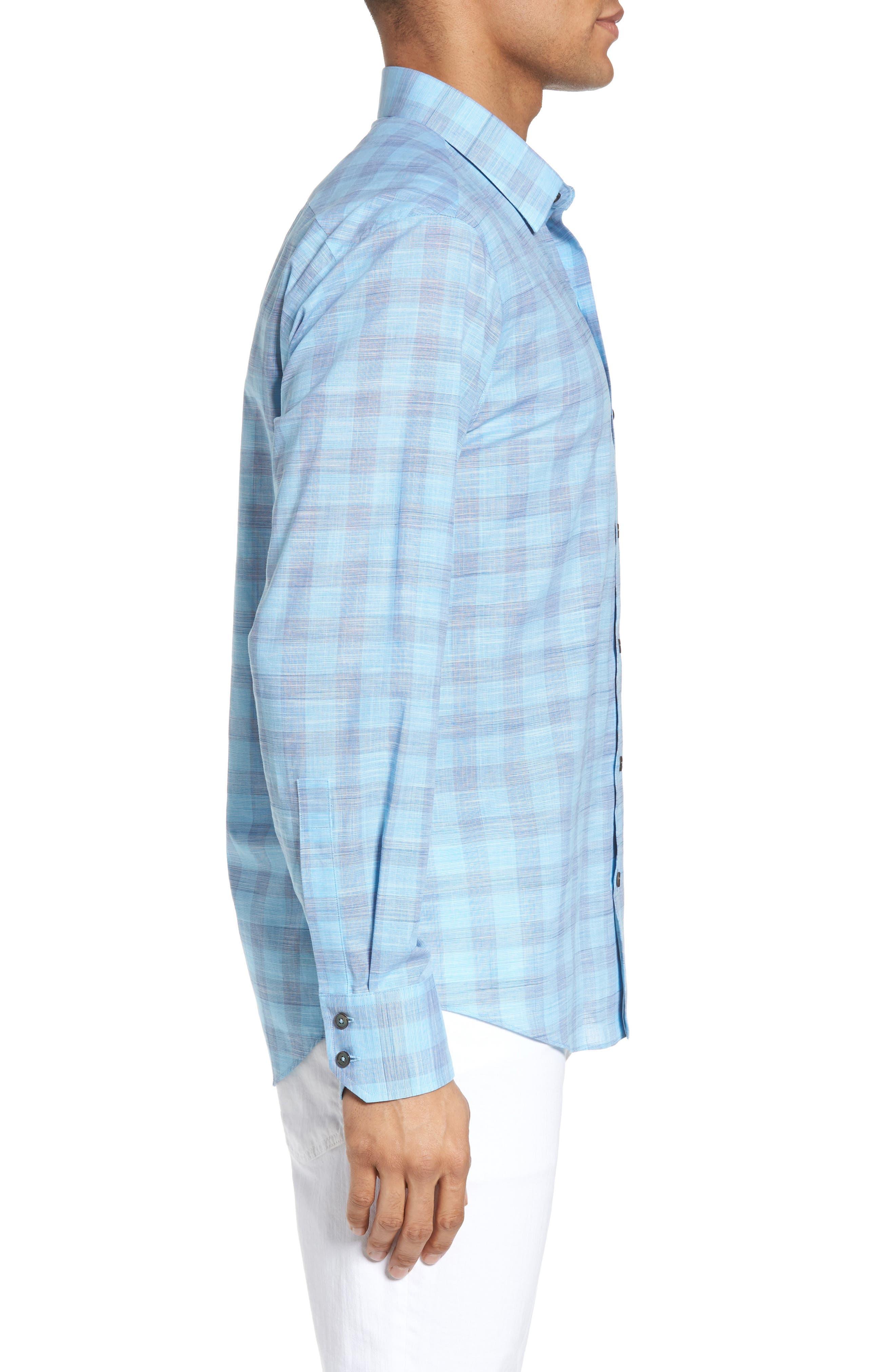 Colin Trim FIt Plaid Sport Shirt,                             Alternate thumbnail 3, color,
