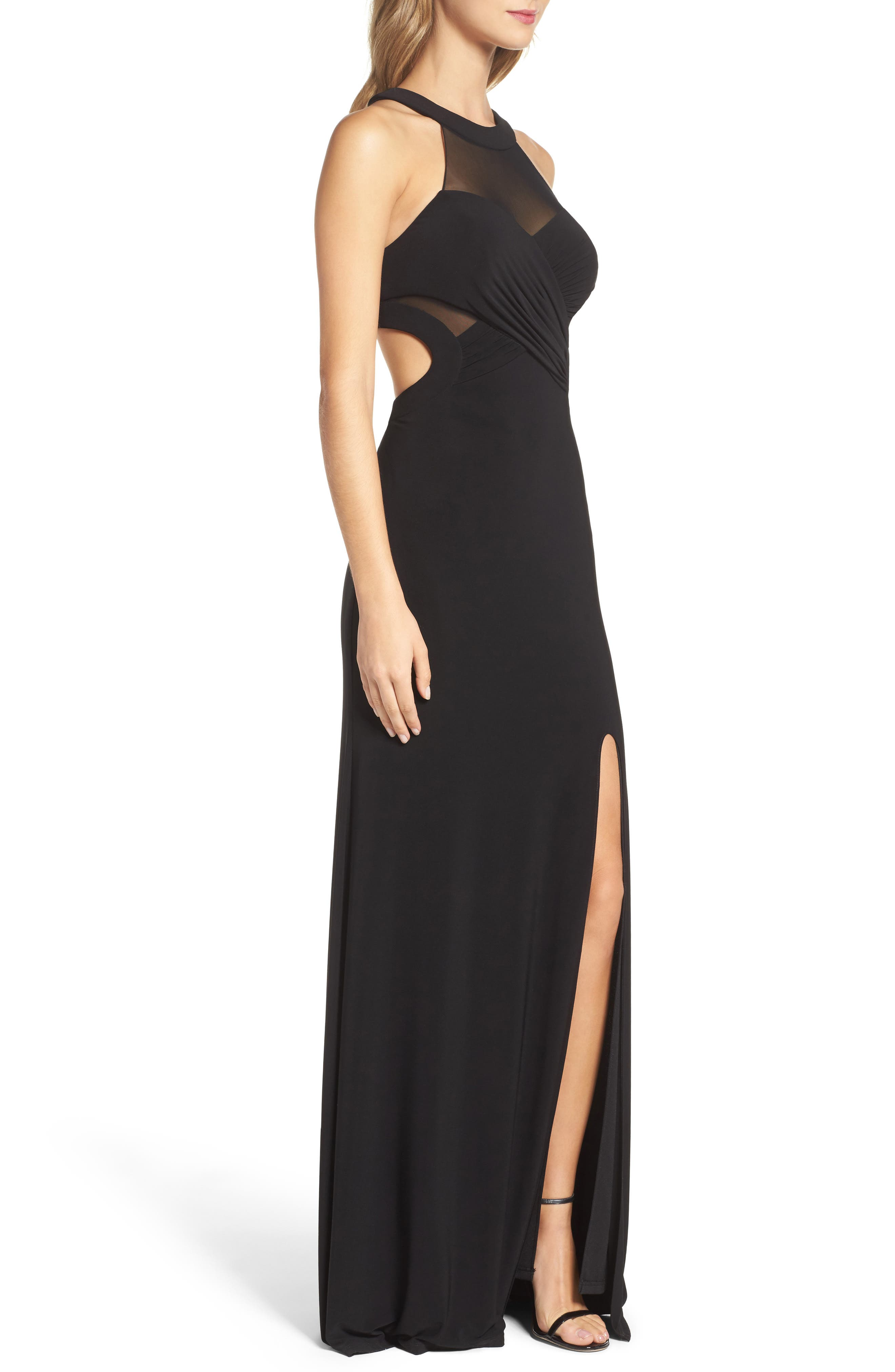 Mesh & Jersey Gown,                             Alternate thumbnail 3, color,                             001