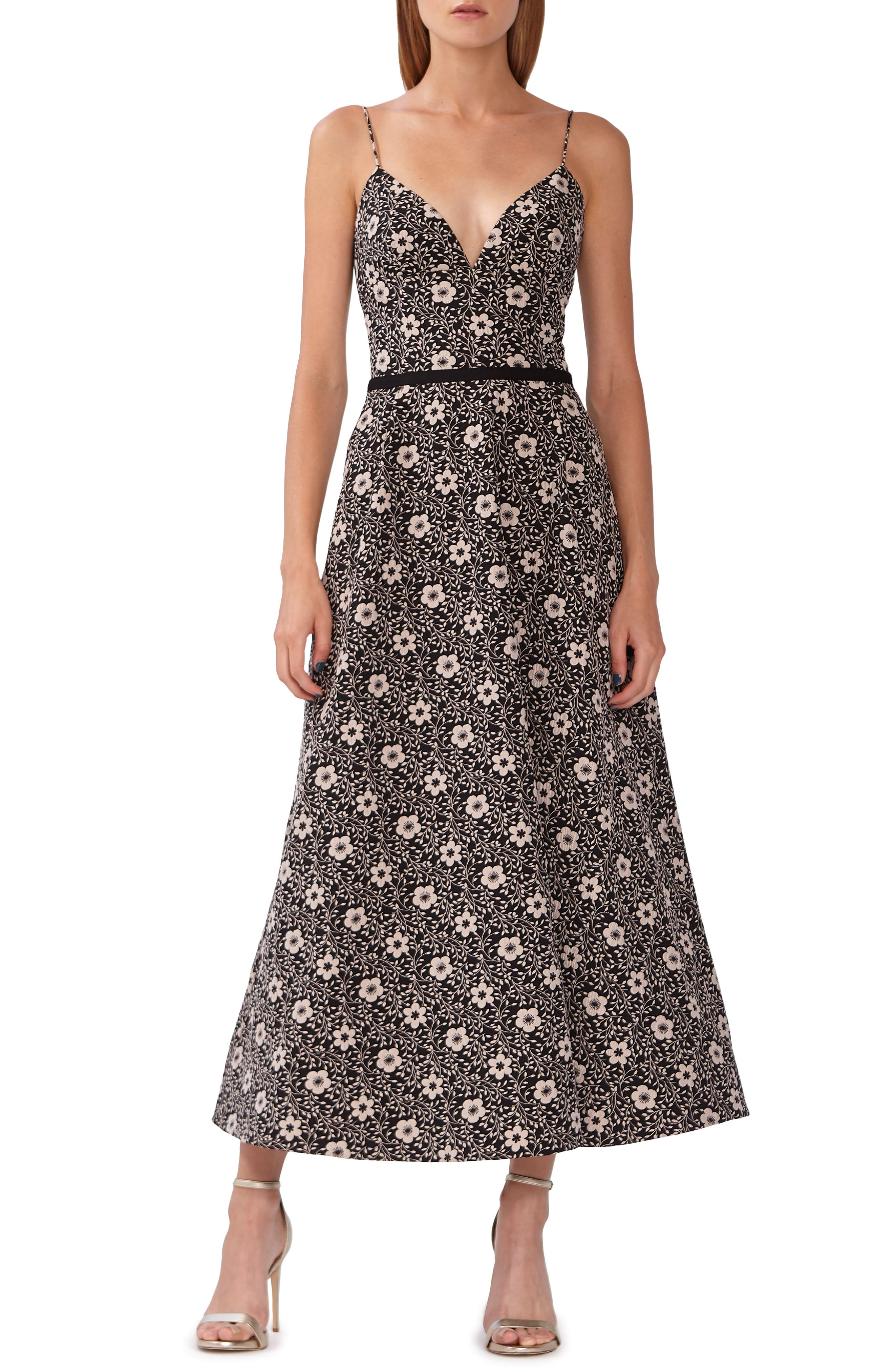 ML MONIQUE LHUILLIER,                             Floral Jacquard Evening Dress,                             Main thumbnail 1, color,                             JET COMBO