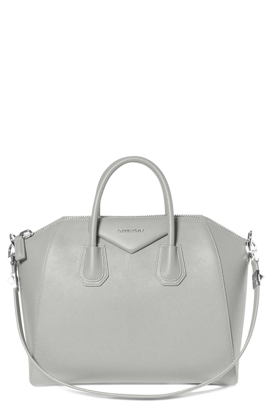 'Medium Antigona' Sugar Leather Satchel,                         Main,                         color, PEARL GREY