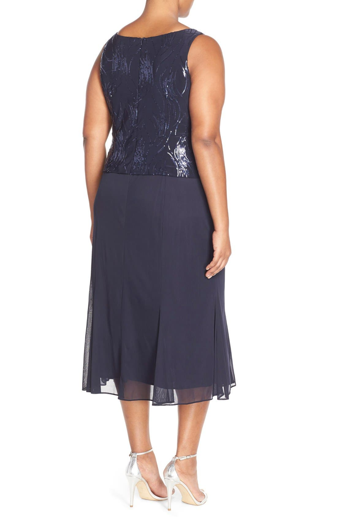 Sequin Mock Two-Piece Dress with Jacket,                             Alternate thumbnail 2, color,                             BRIGHT NAVY
