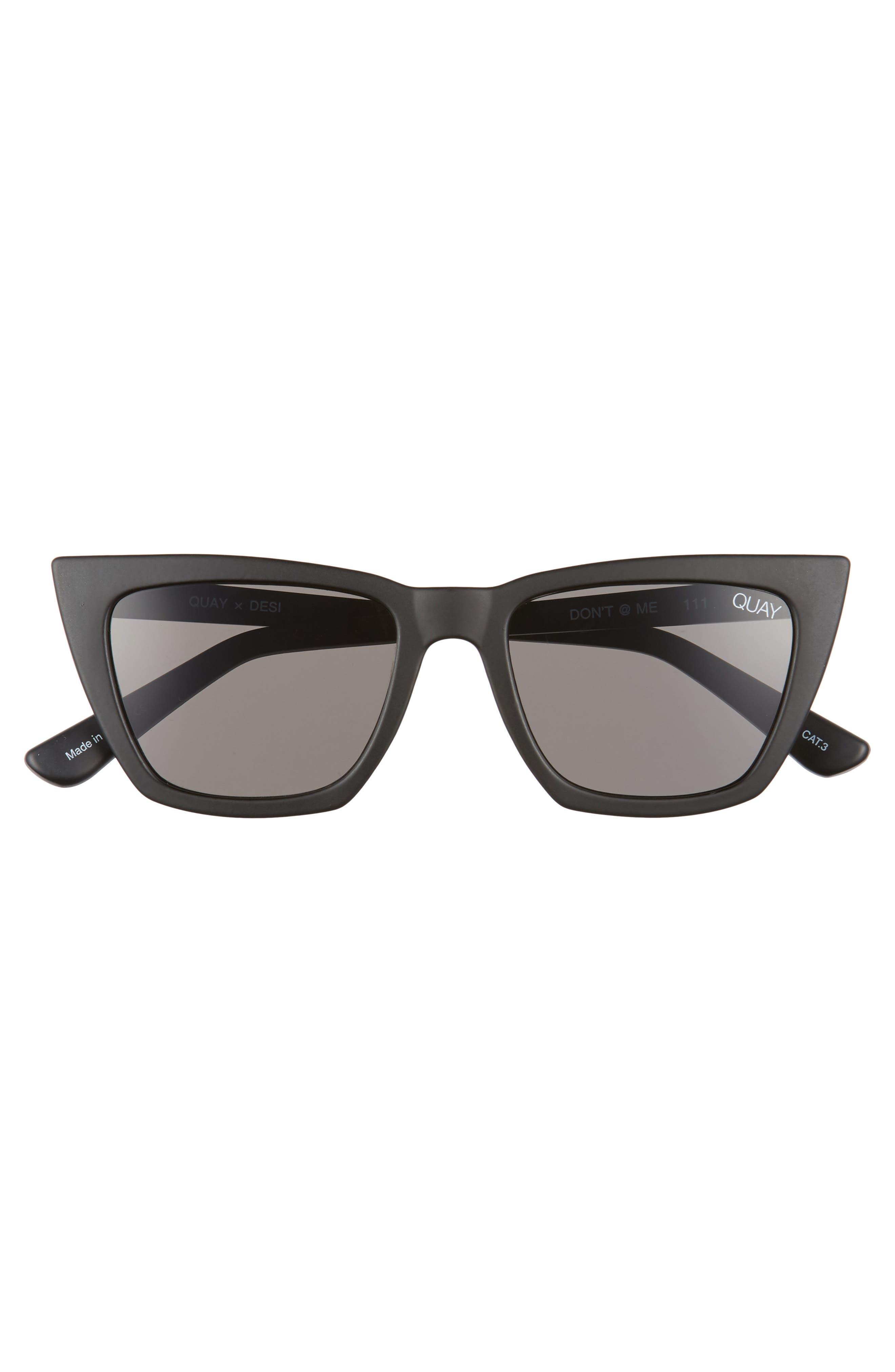 x Desi Perkins Don't @ Me 48mm Cat Eye Sunglasses,                             Alternate thumbnail 3, color,                             BLACK/ SMOKE