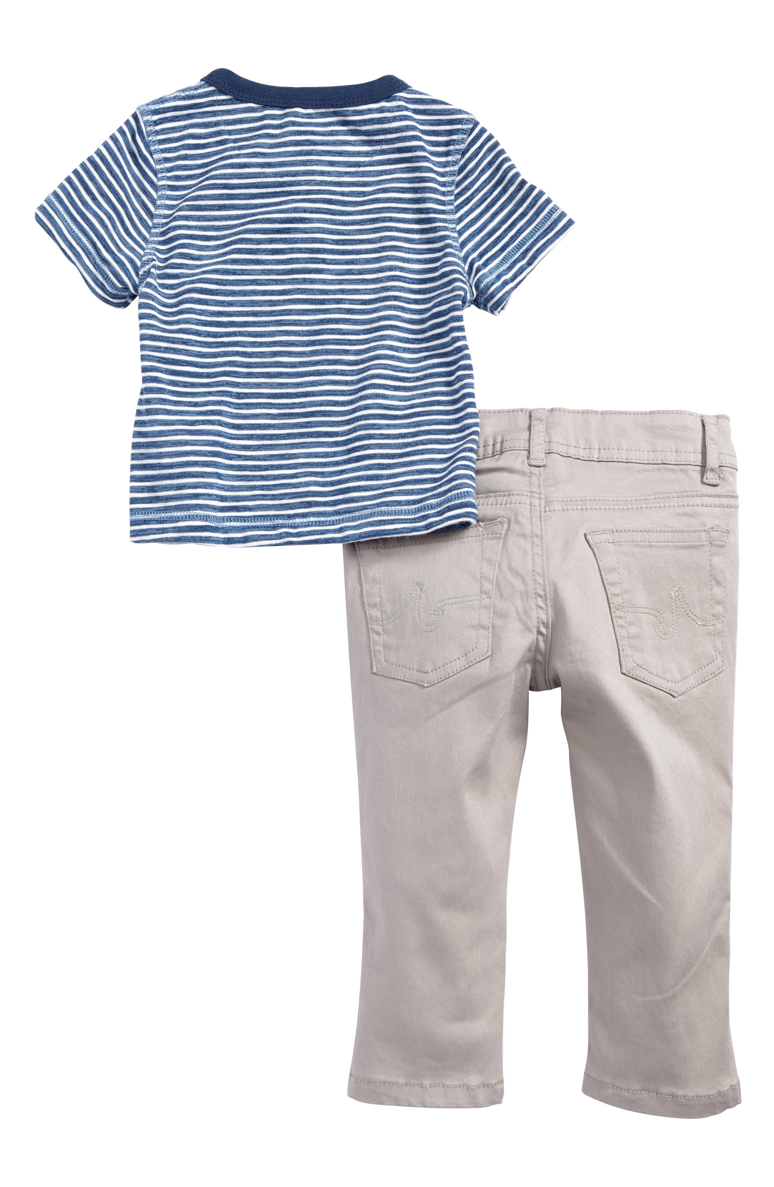 Stripe Henley & Skinny Twill Pants Set,                             Alternate thumbnail 2, color,                             063