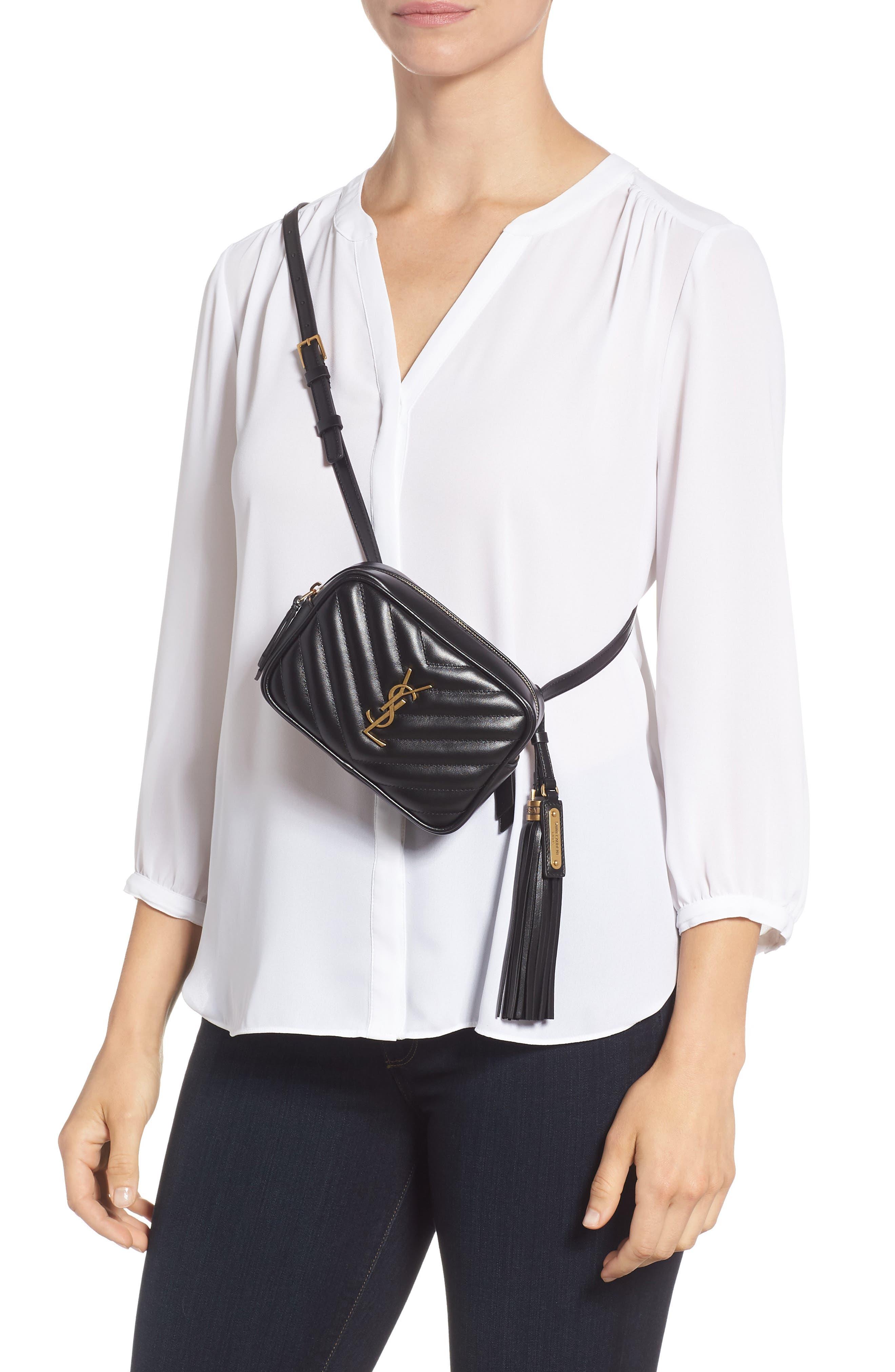 Loulou Matelassé Leather Belt Bag,                             Alternate thumbnail 3, color,                             001