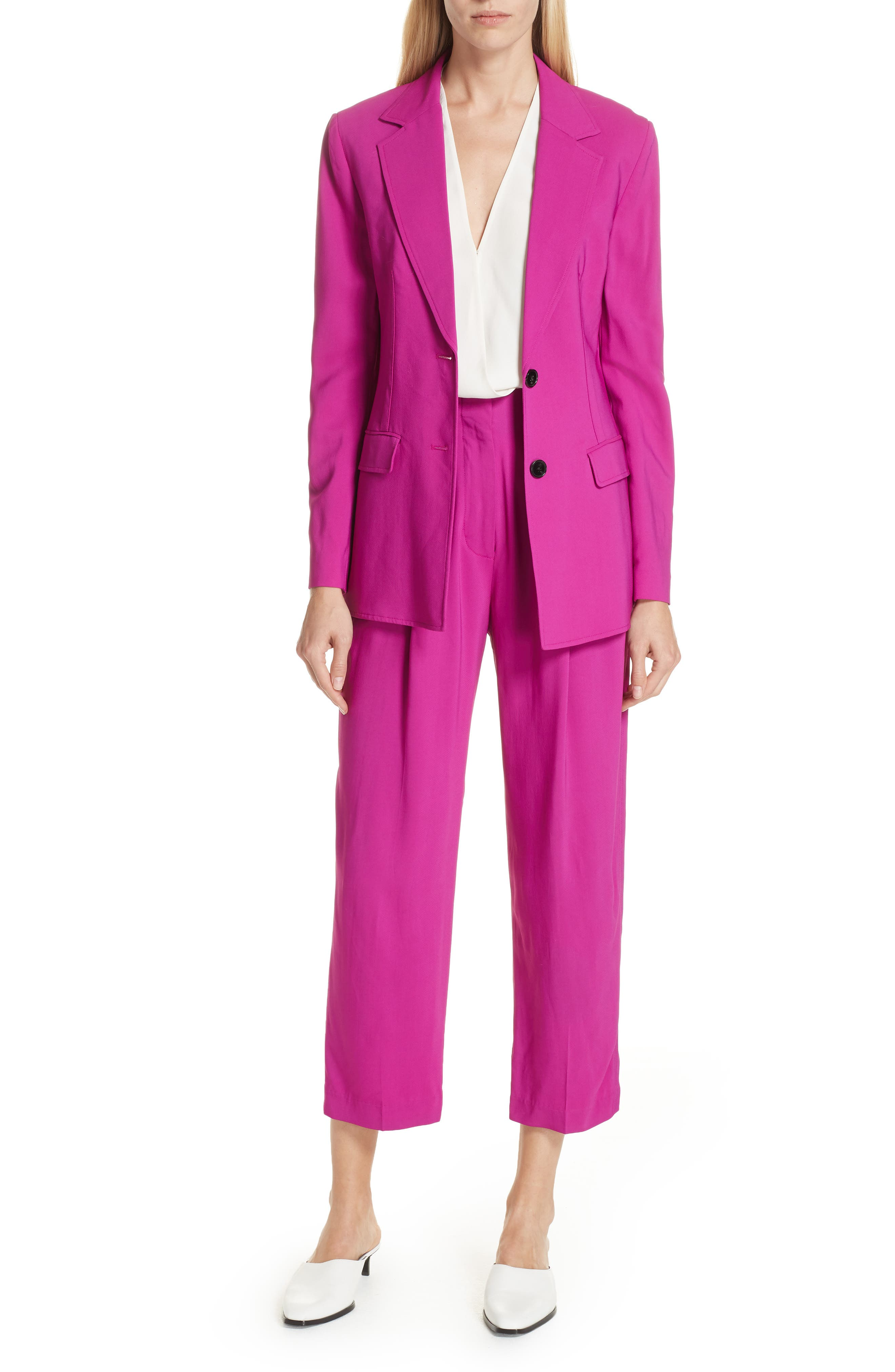 Pleated Crop Trousers,                             Alternate thumbnail 7, color,                             FUCHSIA