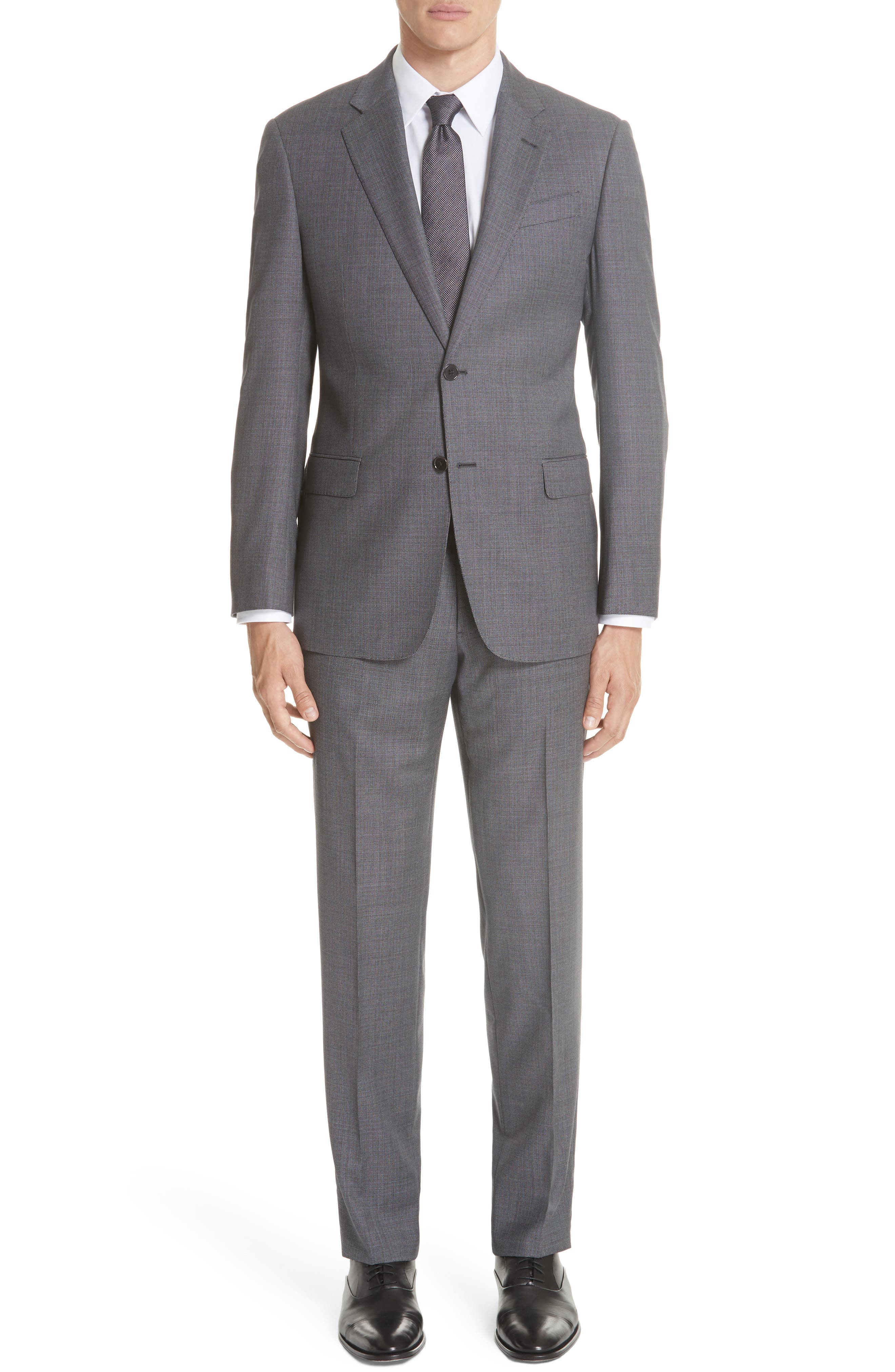 G-Line Trim Fit Bird's Eye Wool Suit,                         Main,                         color, GREY/ LIGHT BLUE