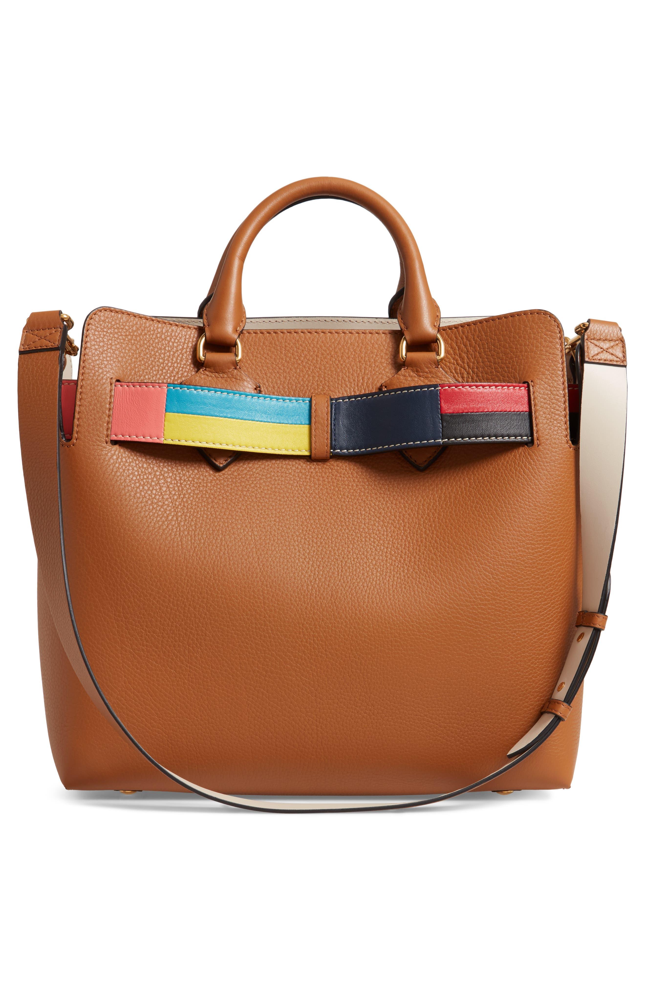 Medium Belt Bag Leather Tote,                             Alternate thumbnail 3, color,                             COGNAC
