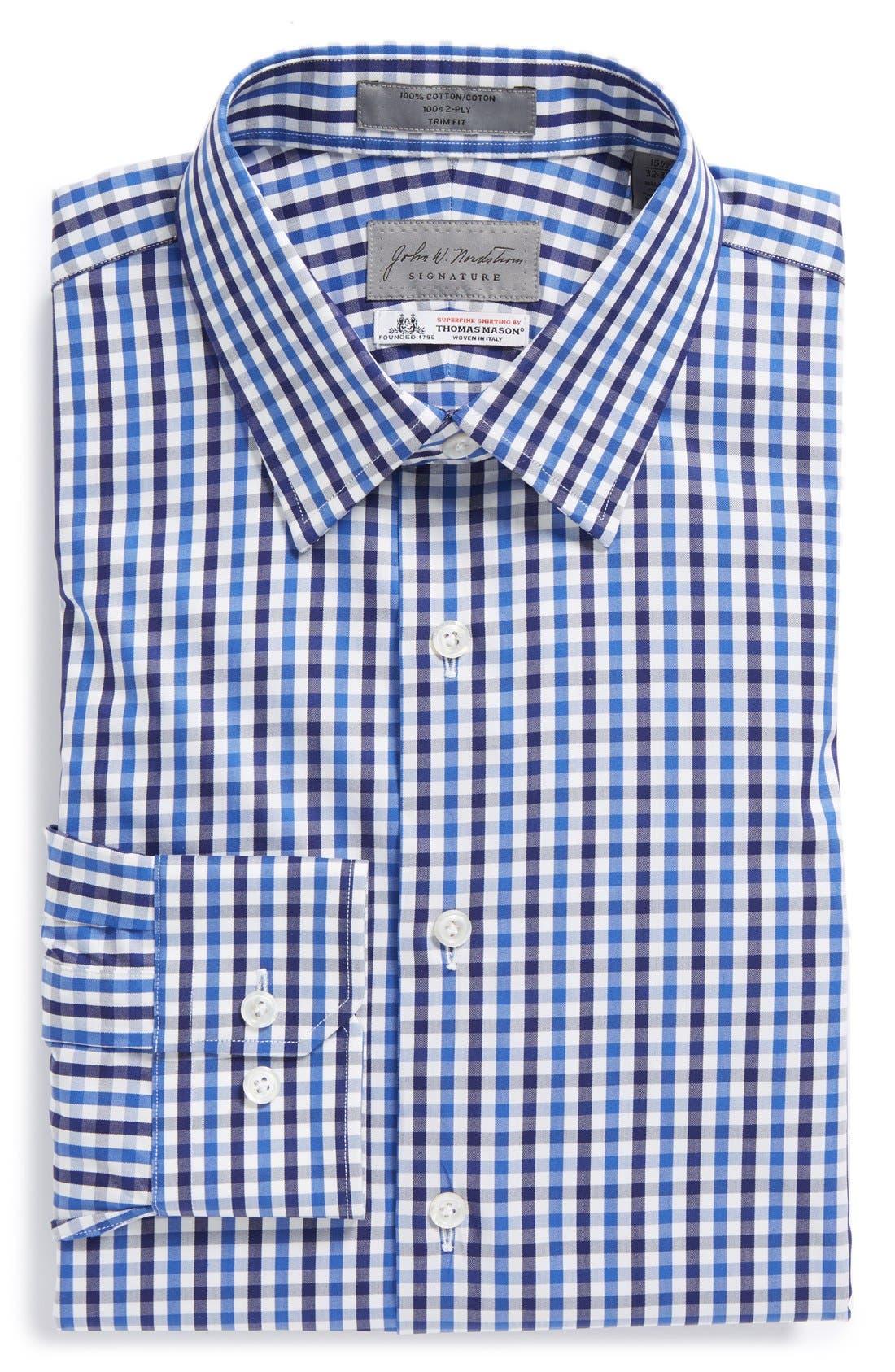 John W Nordstrom<sup>®</sup> Signature Trim Fit Check Dress Shirt,                             Main thumbnail 1, color,                             401