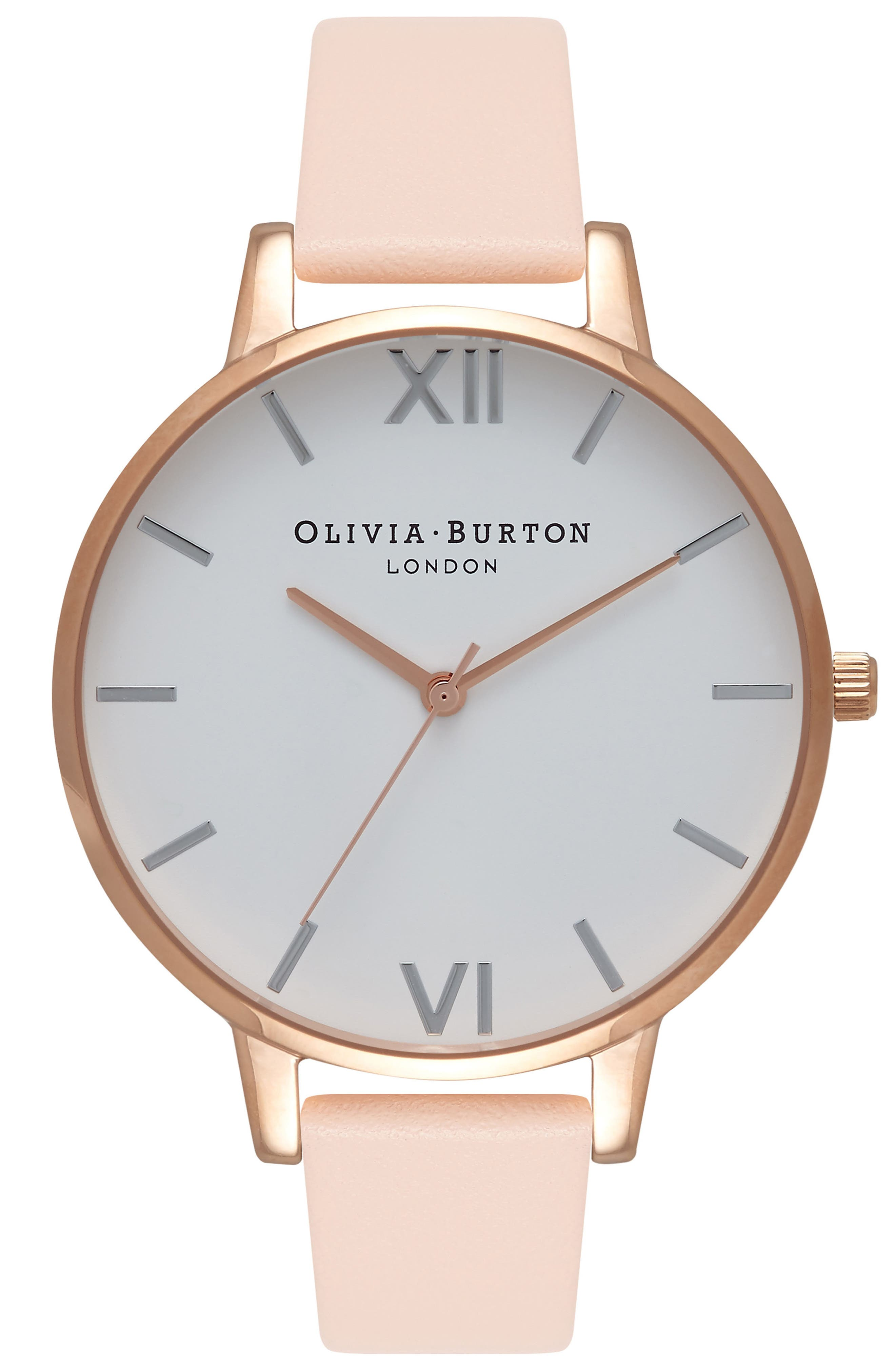 Big Dial Leather Strap Watch, 38mm,                         Main,                         color, PEACH/ WHITE/ ROSE/ SILVER