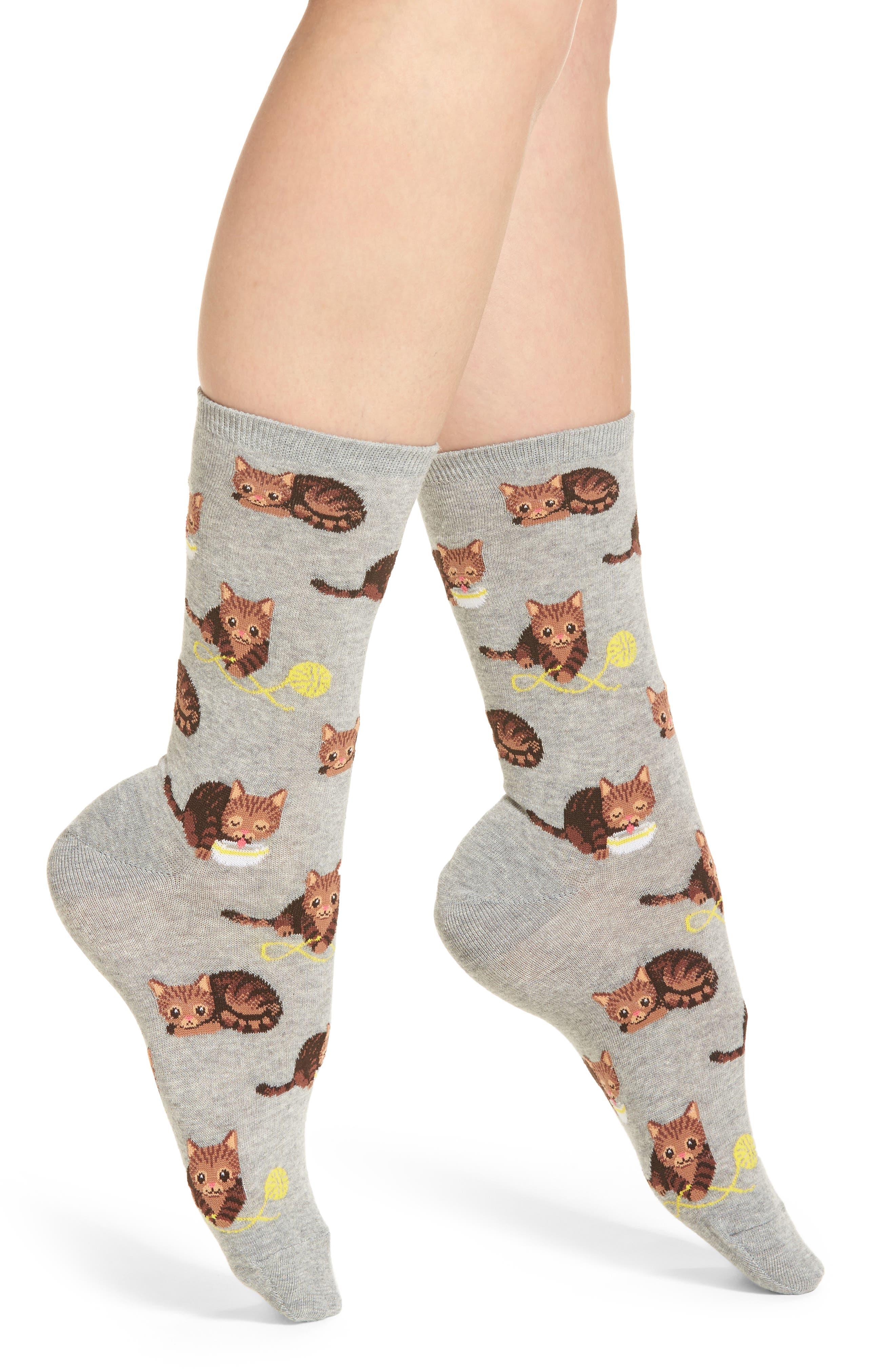 Cat & Yarn Crew Socks,                         Main,                         color,