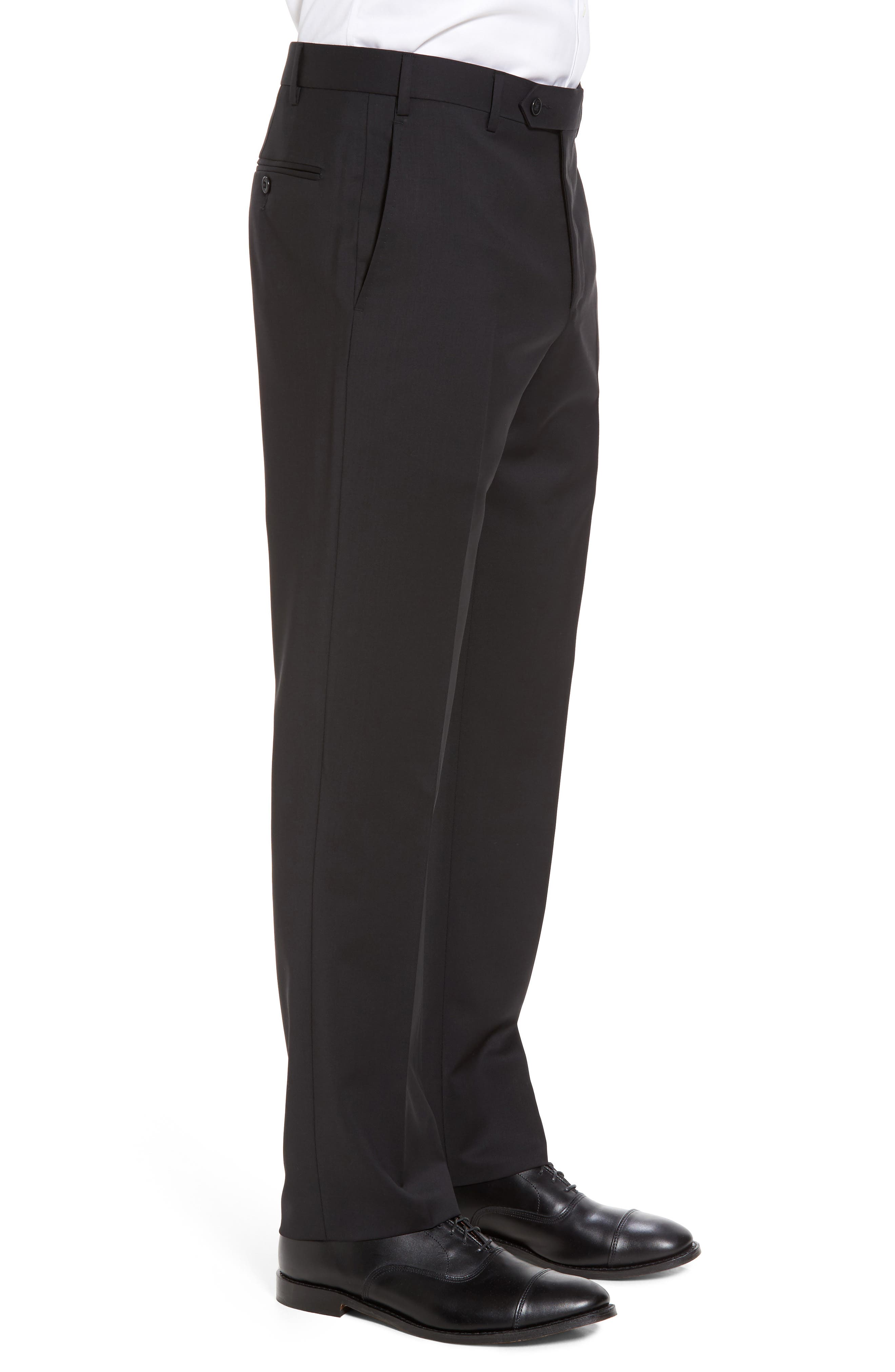 Devon Flat Front Solid Wool Serge Trousers,                             Alternate thumbnail 4, color,                             BLACK