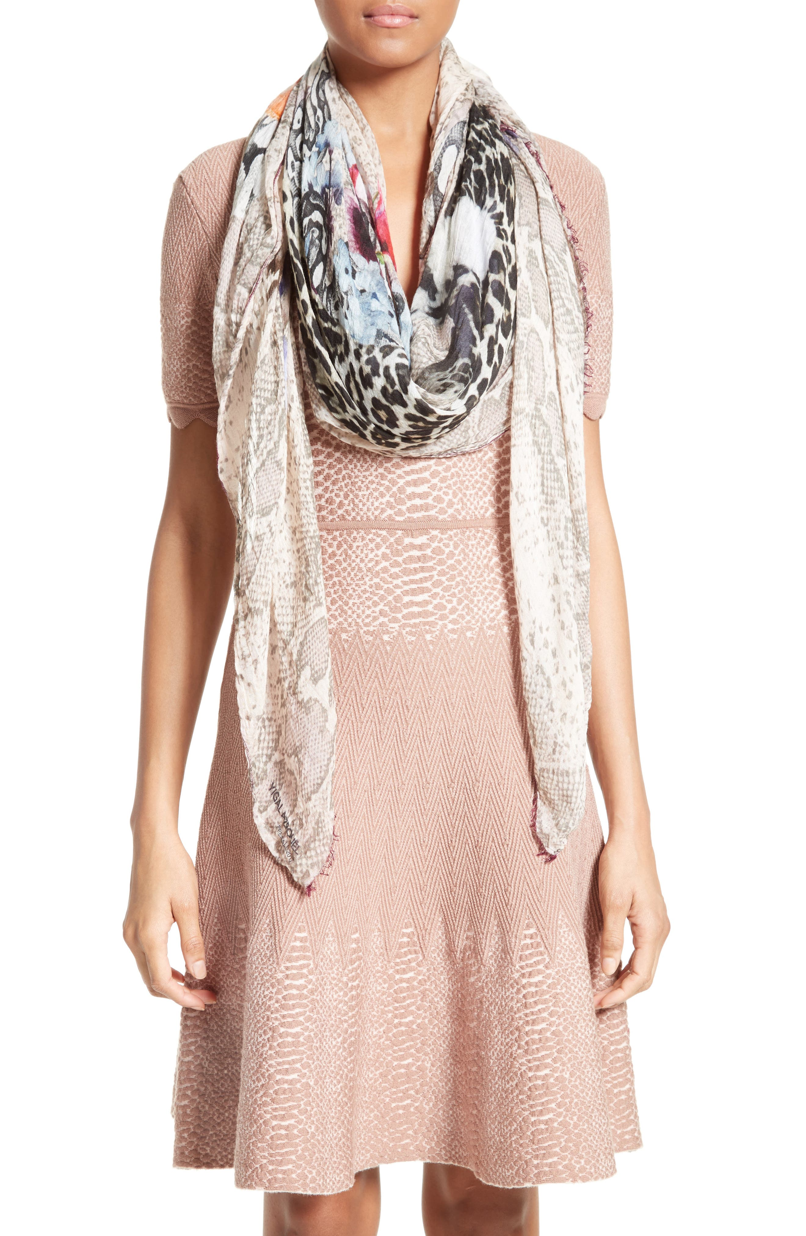 Floral Cheetah Modal & Cashmere Scarf,                         Main,                         color,