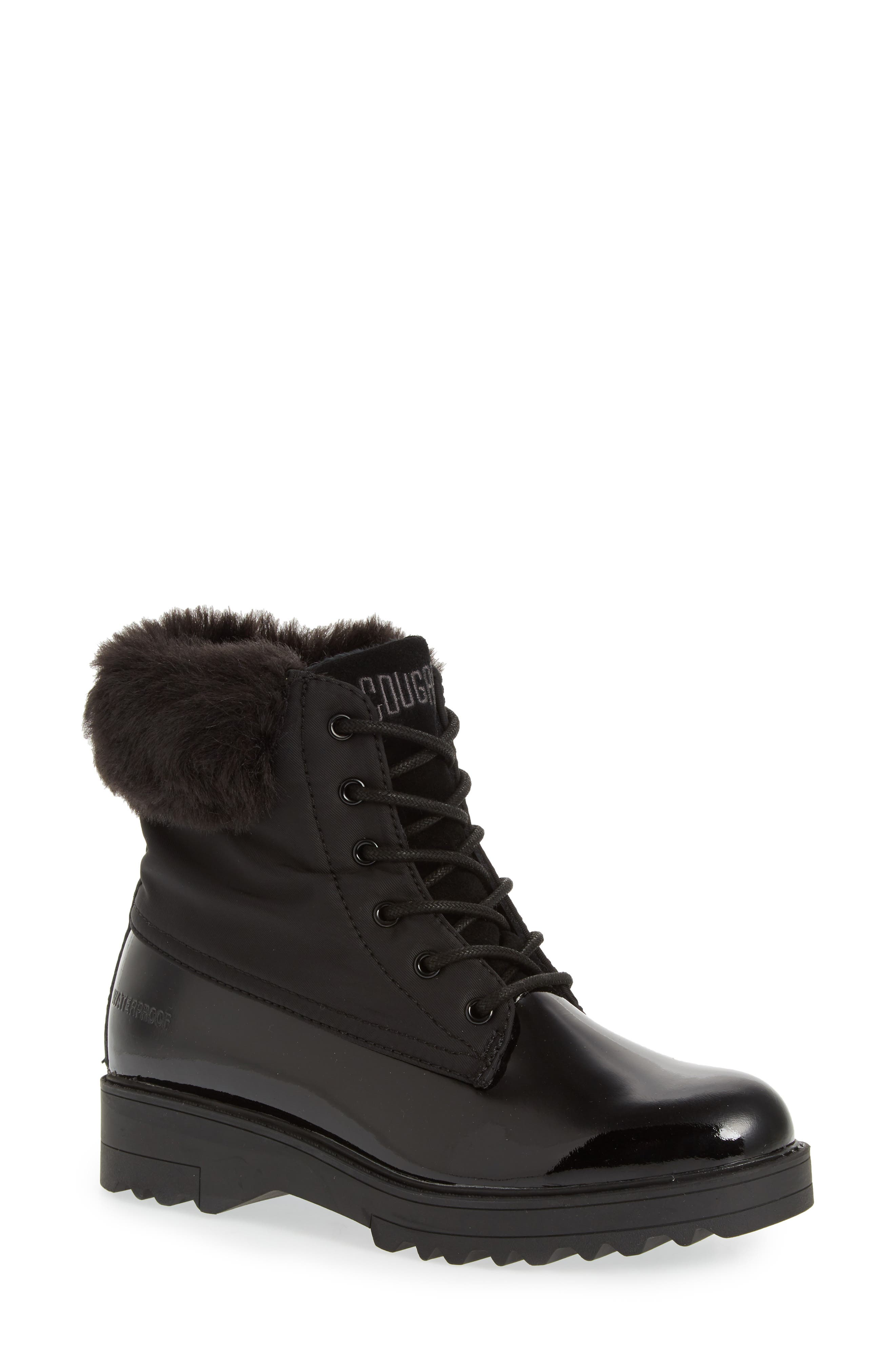 Gatineau Waterproof Insulated Boot with Faux Fur Collar,                             Main thumbnail 1, color,                             BLACK LEATHER