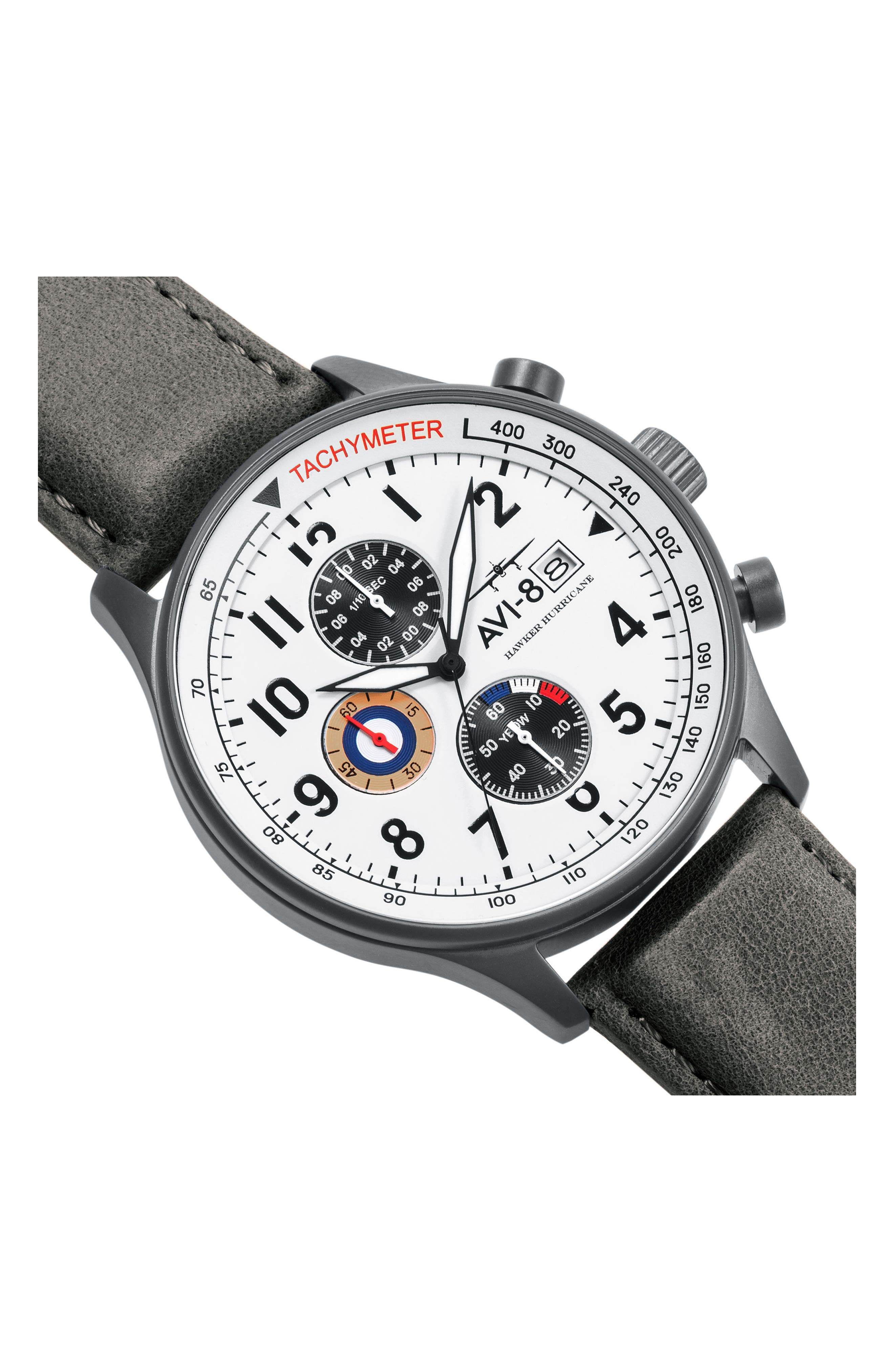 Hawker Hurricane Chronograph Leather Strap Watch, 42mm,                             Alternate thumbnail 4, color,                             020