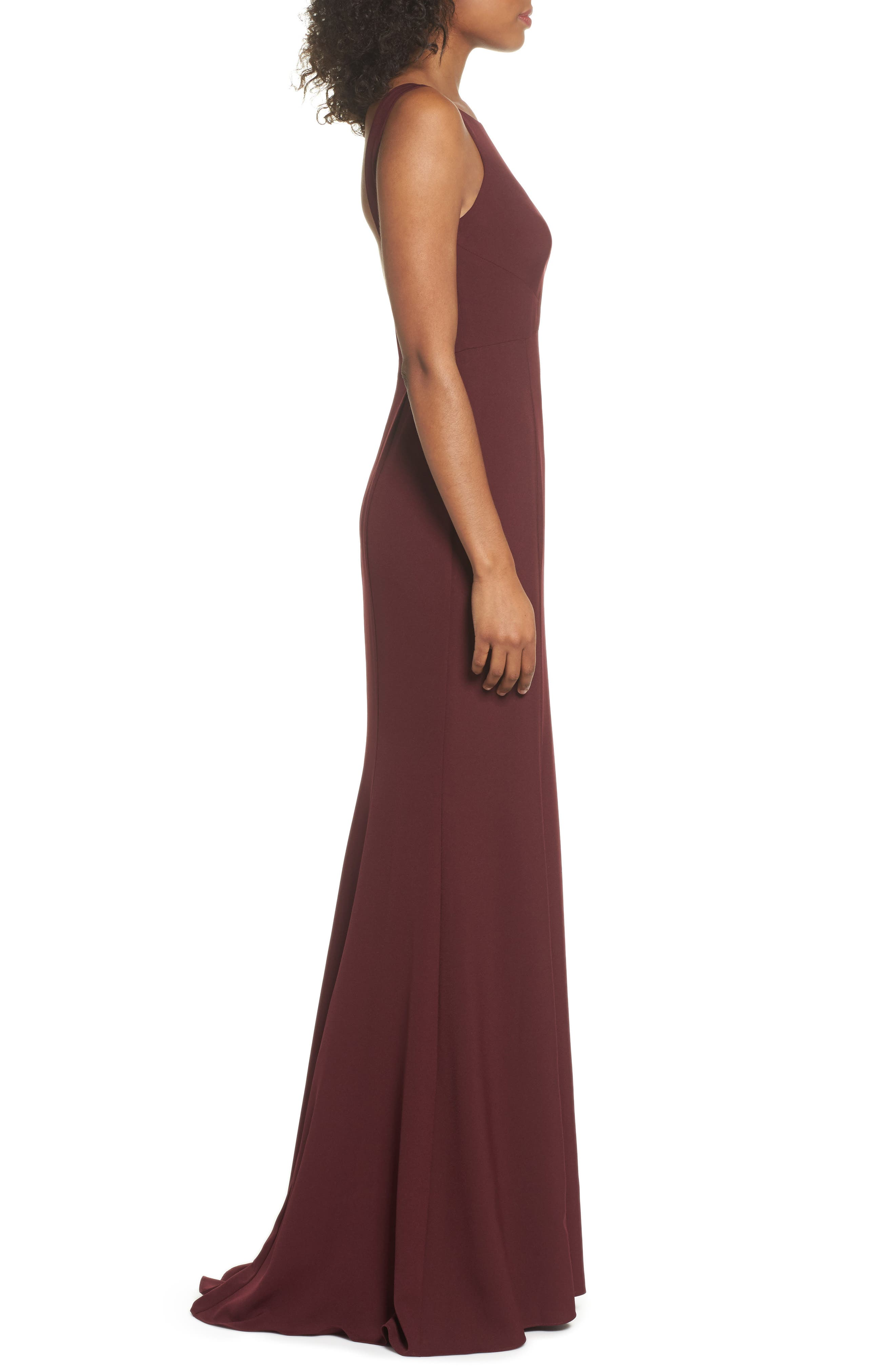 Joelle Low Back Crepe Gown,                             Alternate thumbnail 3, color,                             RUBY