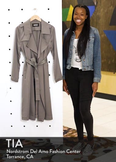 Faux Leather Trim Long Trench Coat, sales video thumbnail