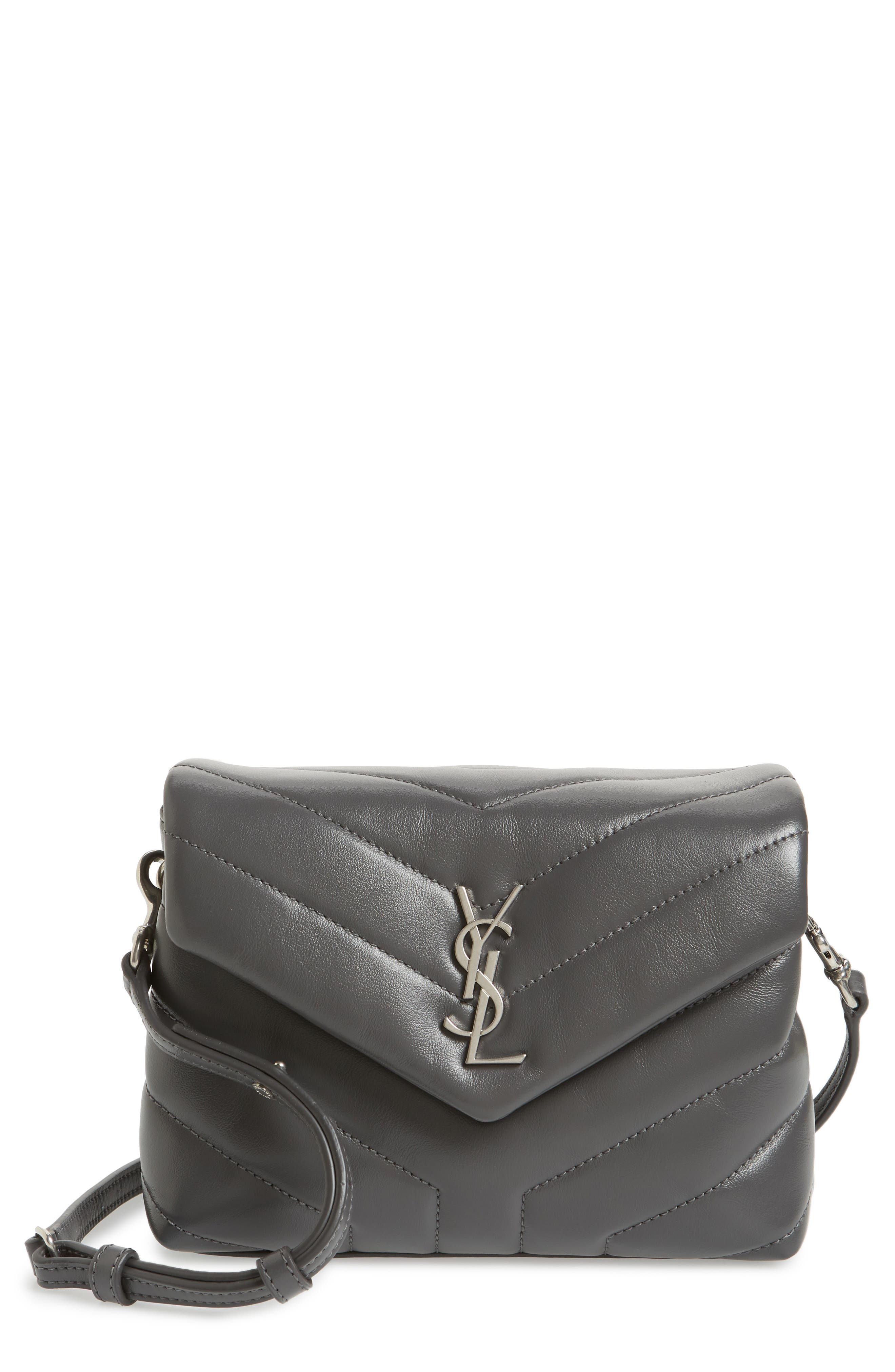 Toy Loulou Calfskin Leather Crossbody Bag,                             Main thumbnail 1, color,                             STORM