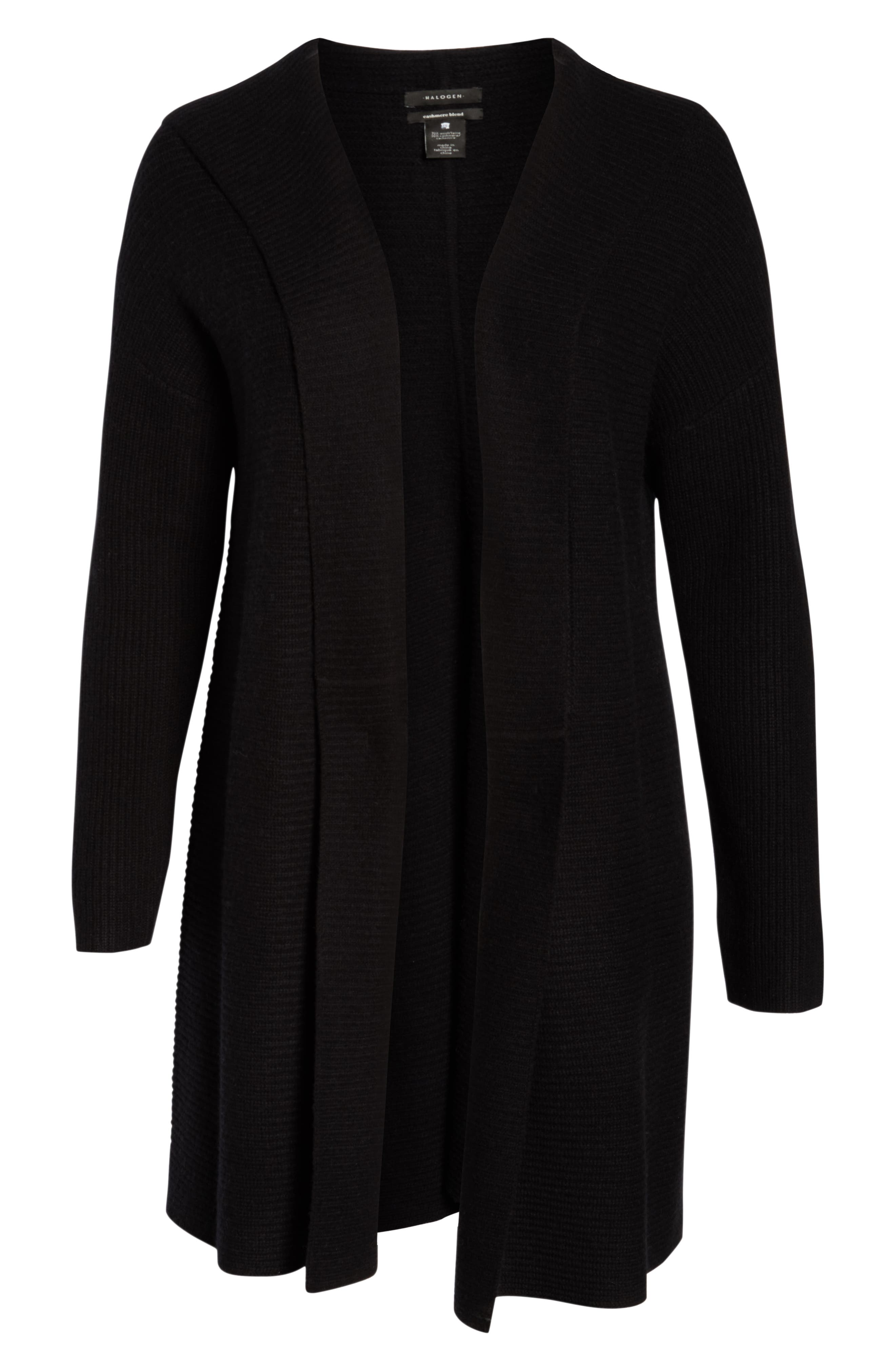 Hooded Wool & Cashmere Cardigan,                             Alternate thumbnail 6, color,                             BLACK