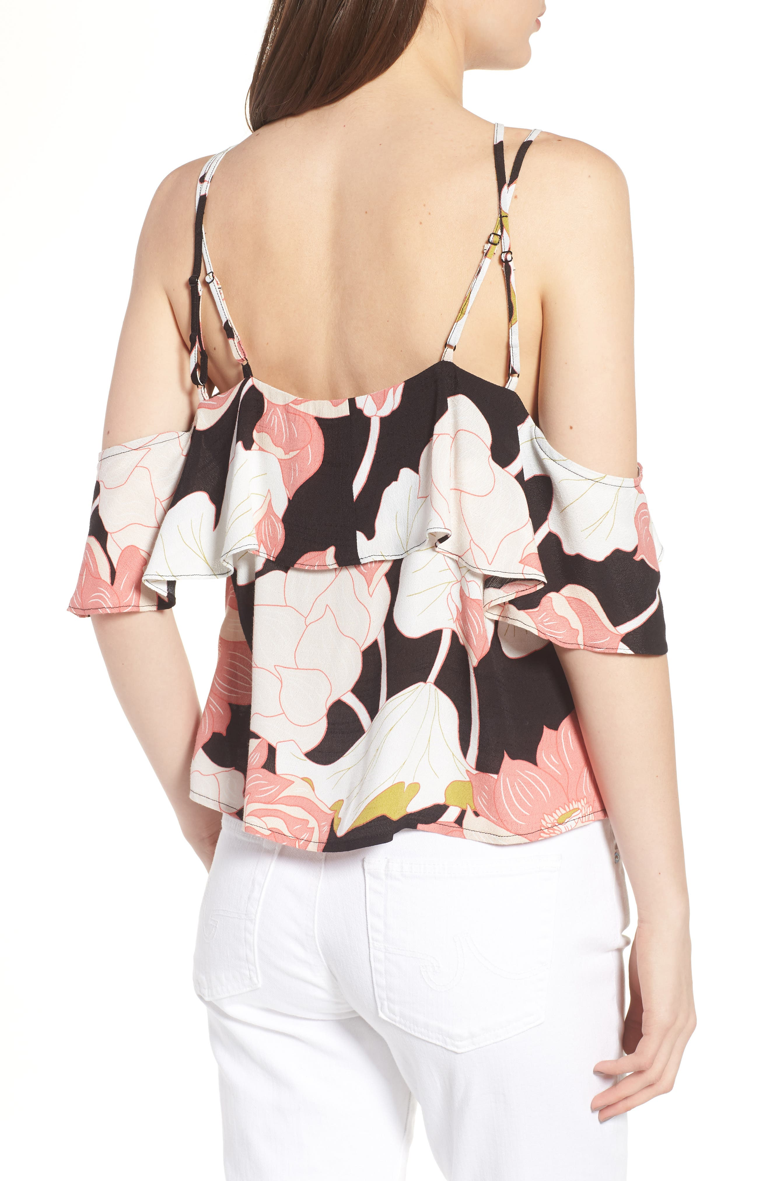 CUPCAKES AND CASHMERE,                             Bixby Water Lilies Cold Shoulder Top,                             Alternate thumbnail 2, color,                             001