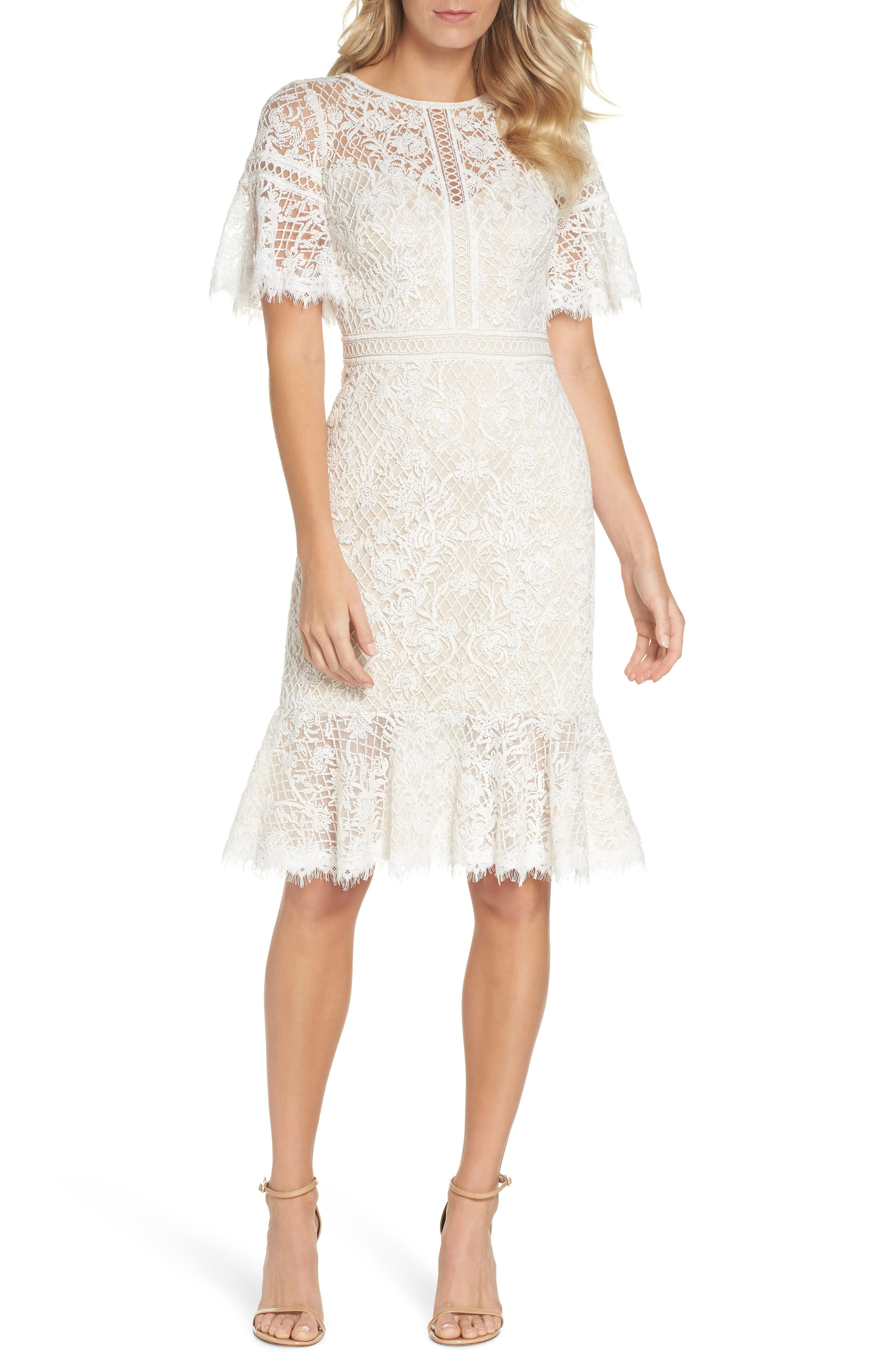 Embroidered Mesh Dress,                             Main thumbnail 1, color,                             IVORY/ NATURAL