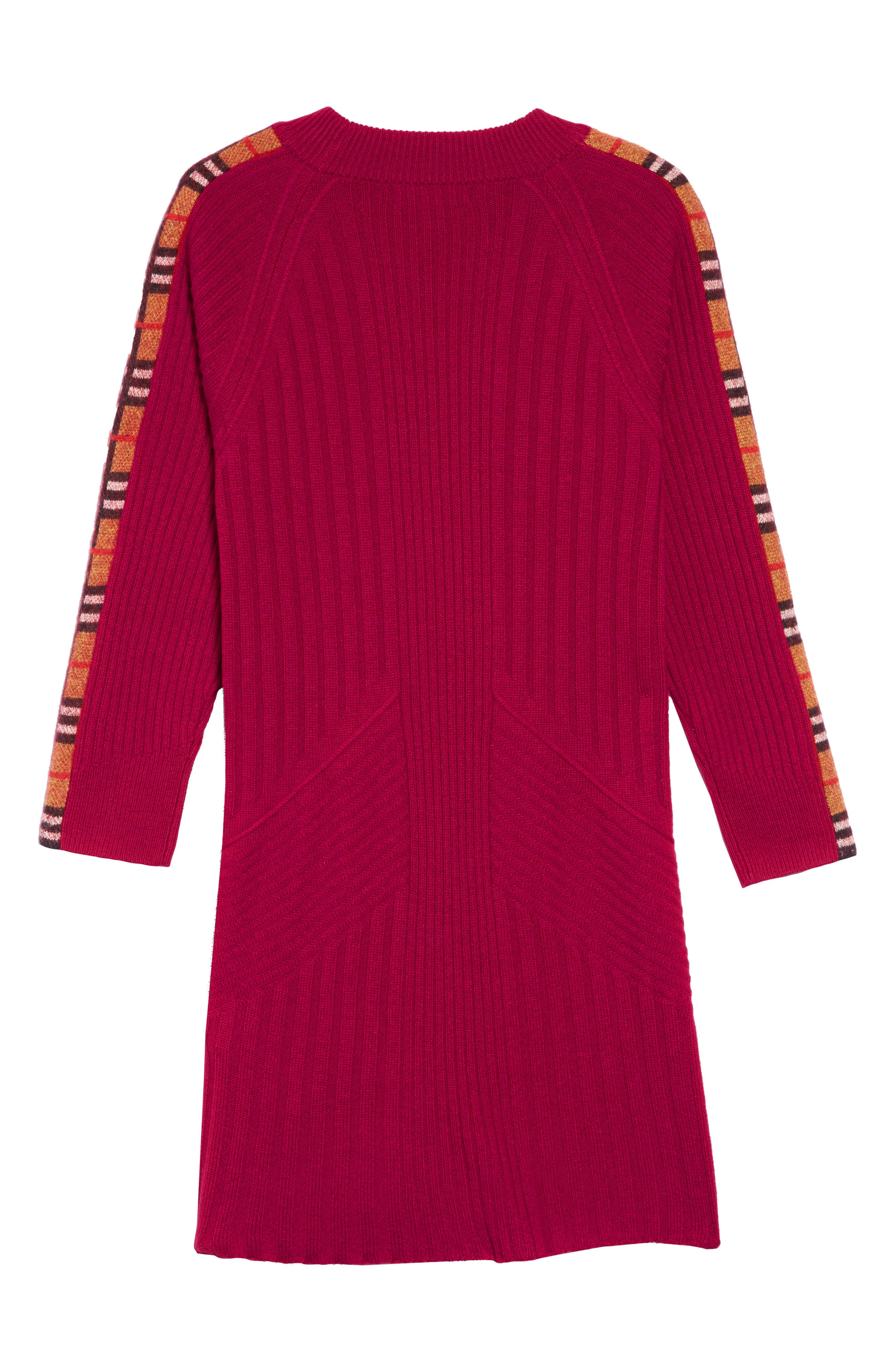 Kids Cathina Check Detail Wool & Cashmere Sweater Dress,                             Alternate thumbnail 2, color,                             BURGUNDY RED