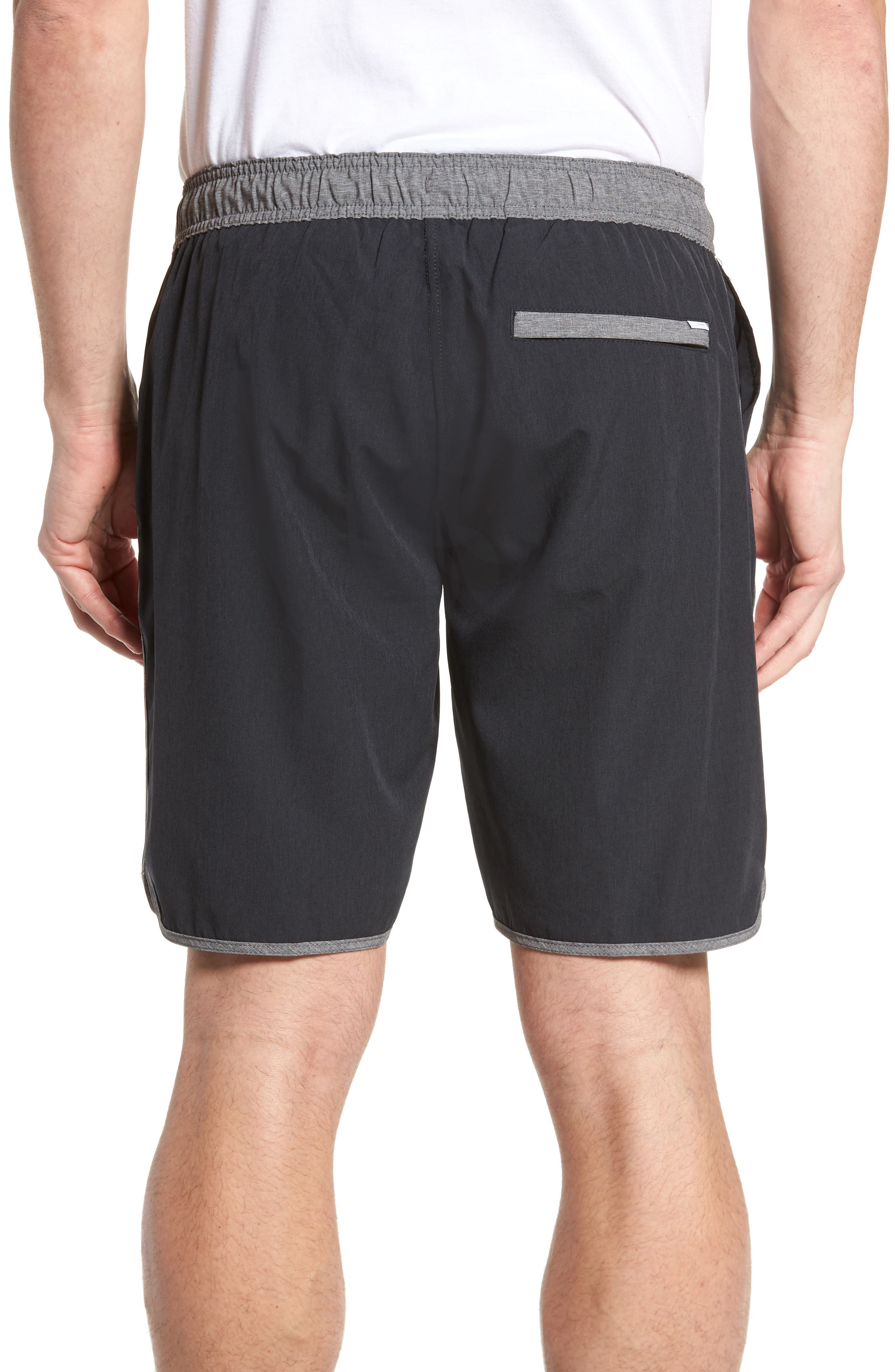 Banks Performance Hybrid Shorts,                             Alternate thumbnail 2, color,                             BLACK LINEN TEXTURE