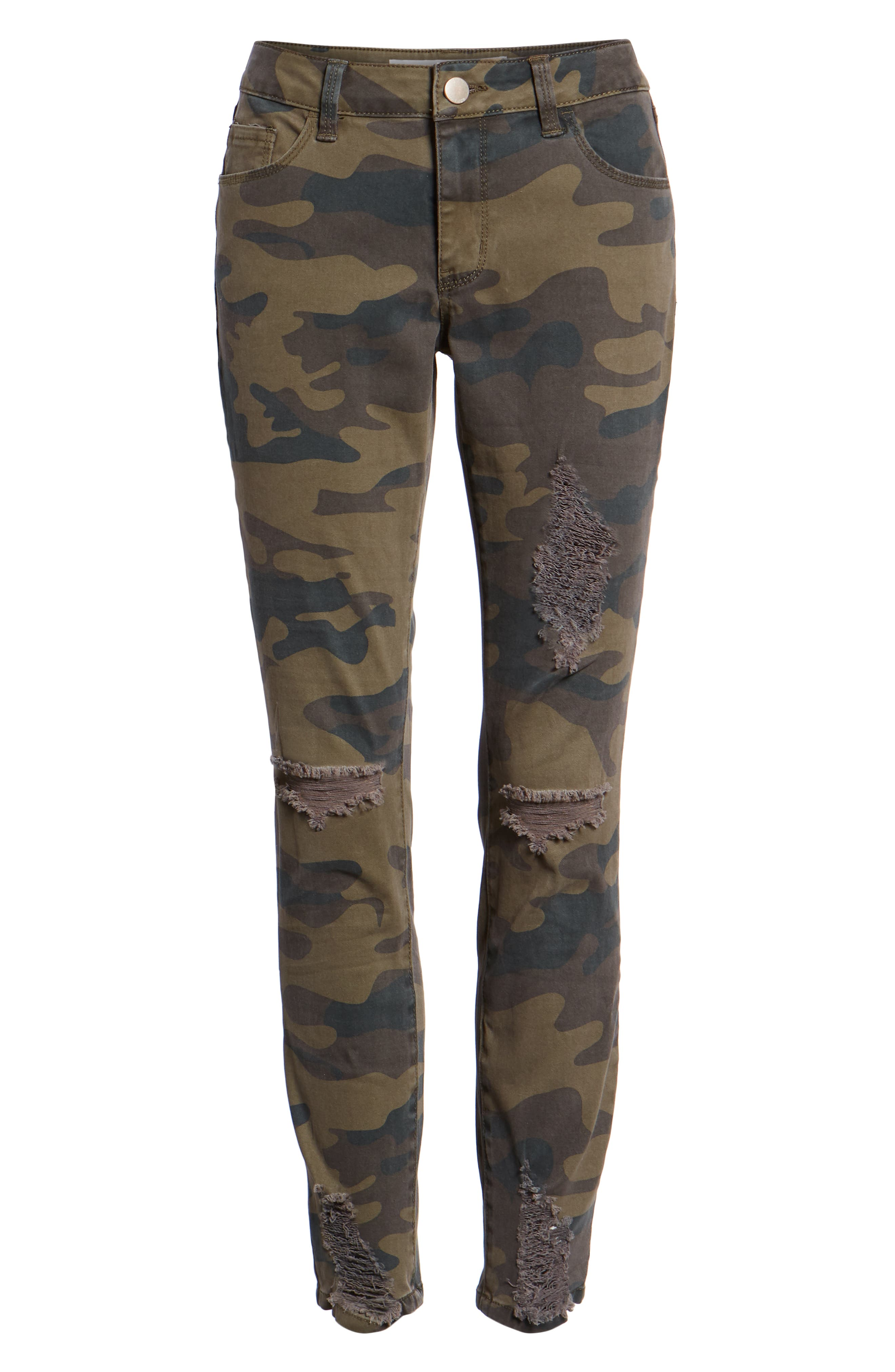 Ripped Camouflage Skinny Jeans,                             Alternate thumbnail 6, color,                             OLIVE COMBO