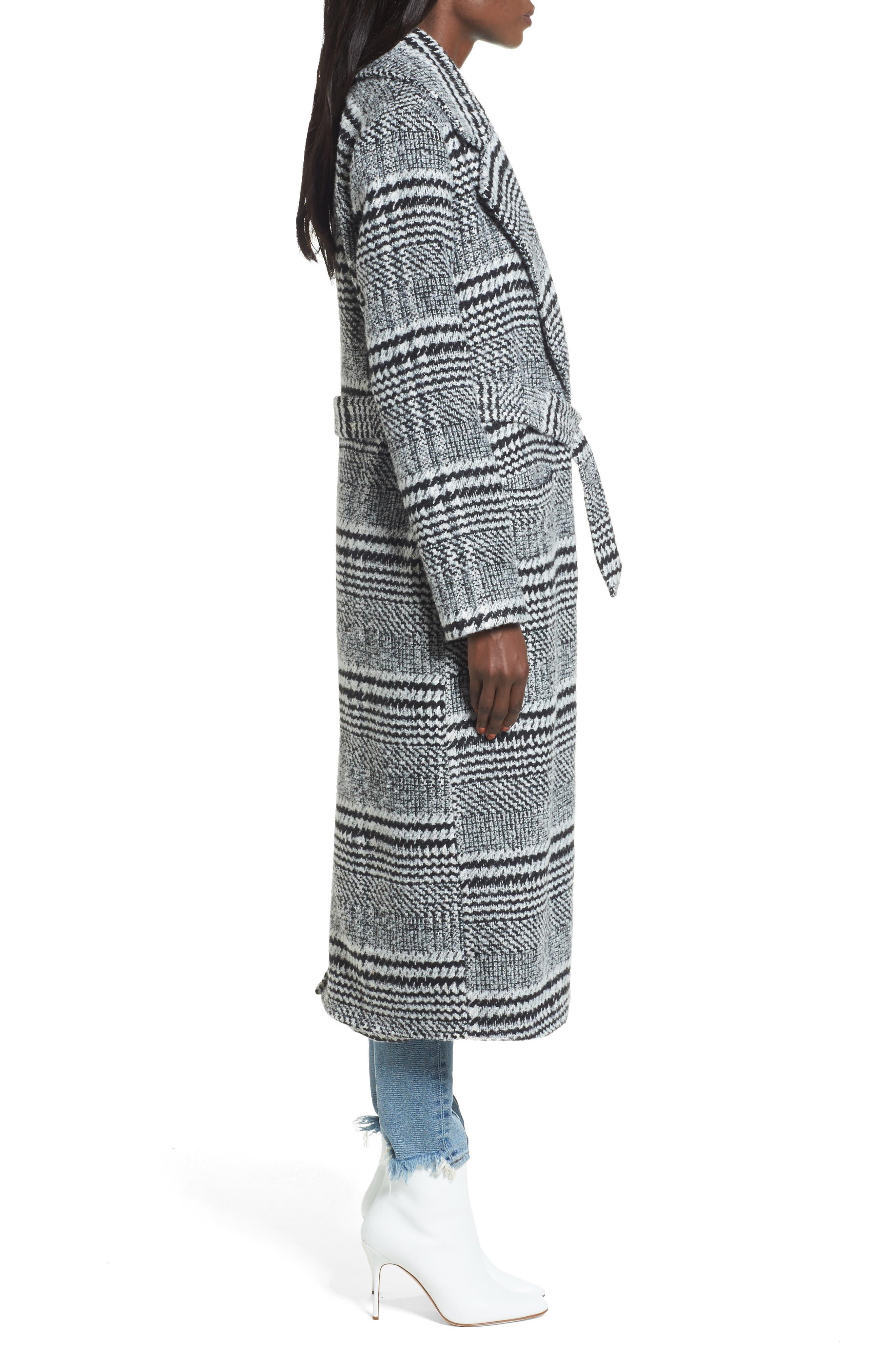 Sabra Longline Plaid Coat,                             Alternate thumbnail 3, color,                             001