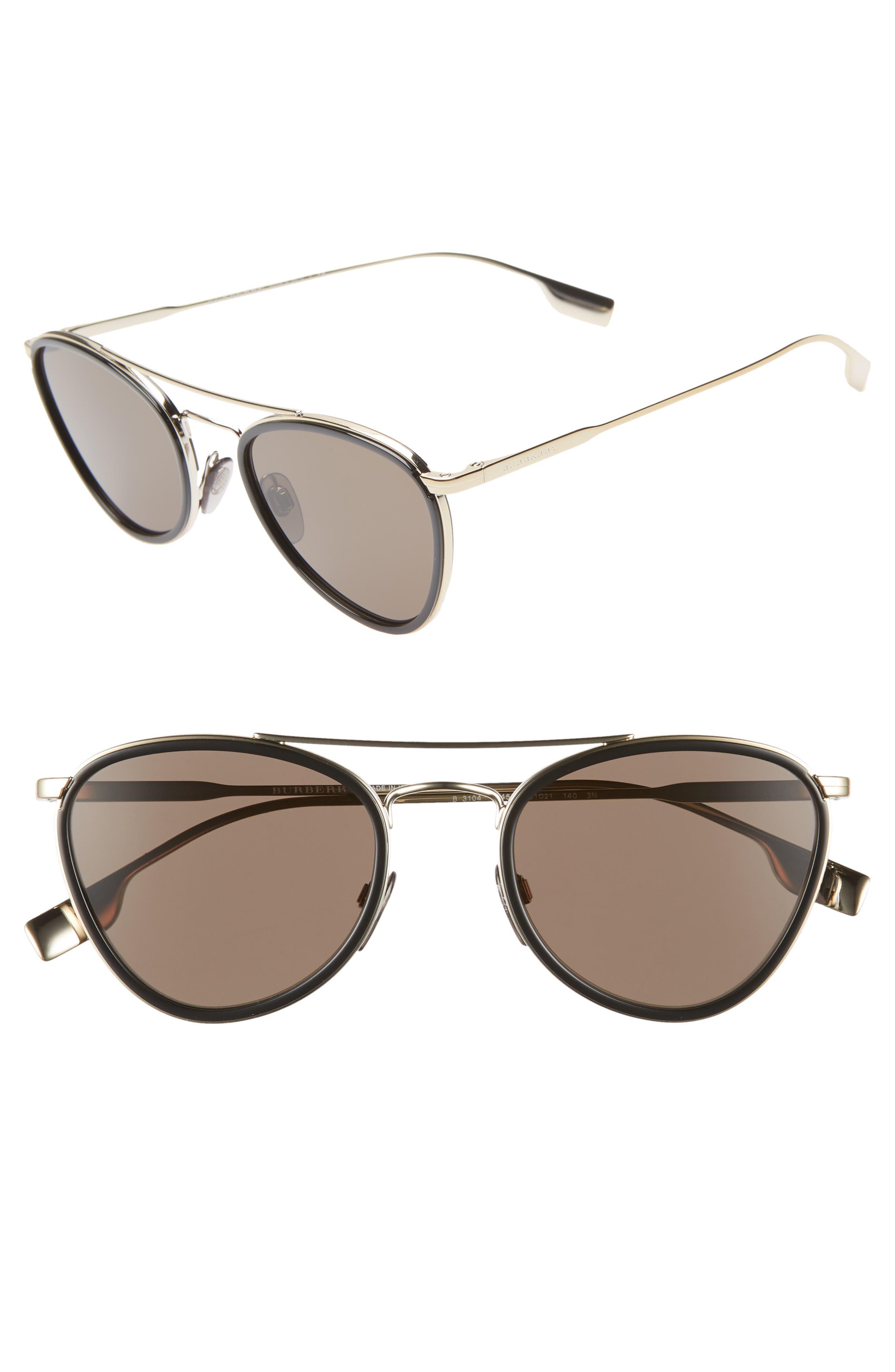 51mm Aviator Sunglasses, Main, color, BLACK/ GOLD SOLID