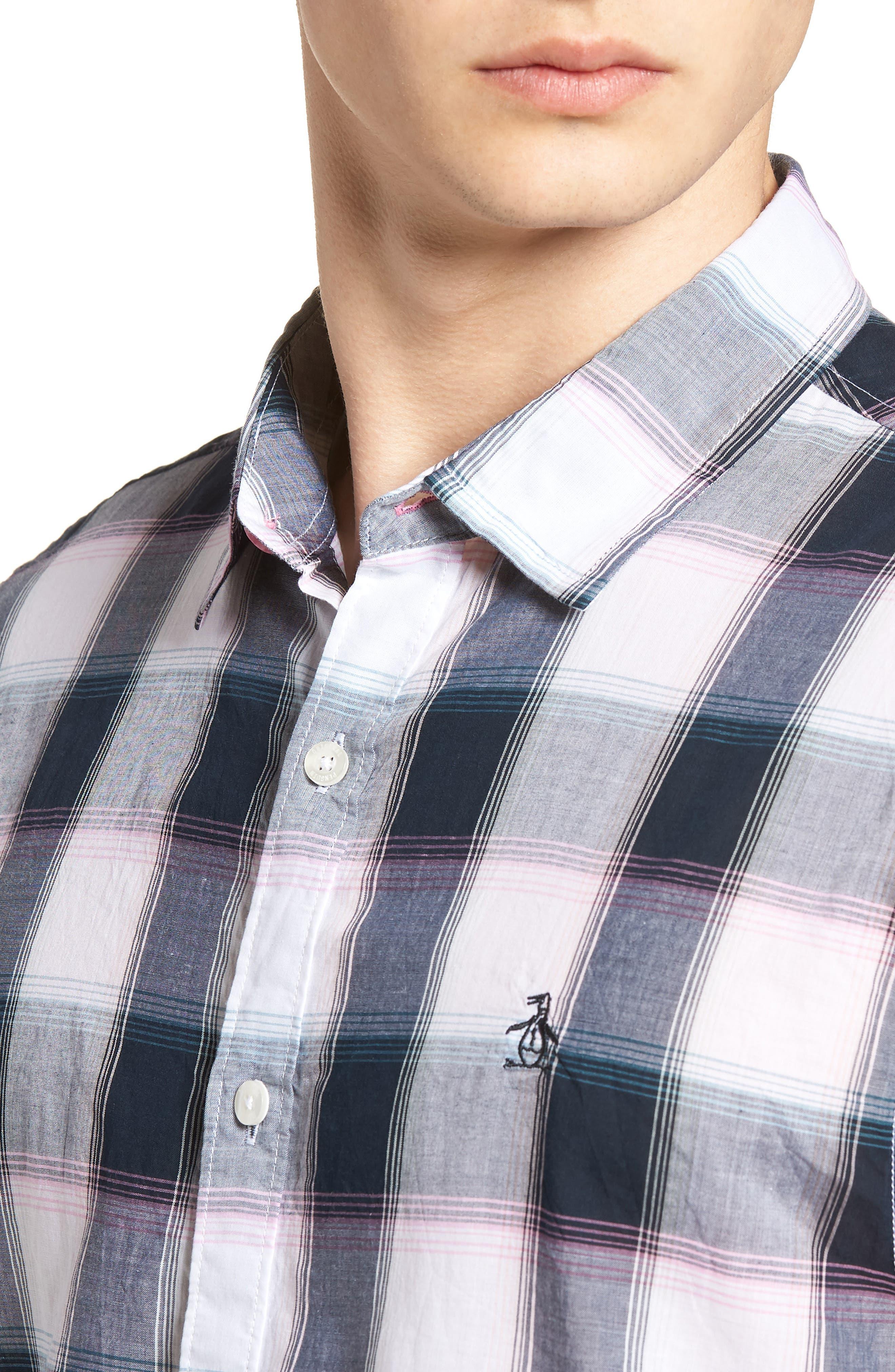 Plaid Cotton Lawn Shirt,                             Alternate thumbnail 4, color,                             023