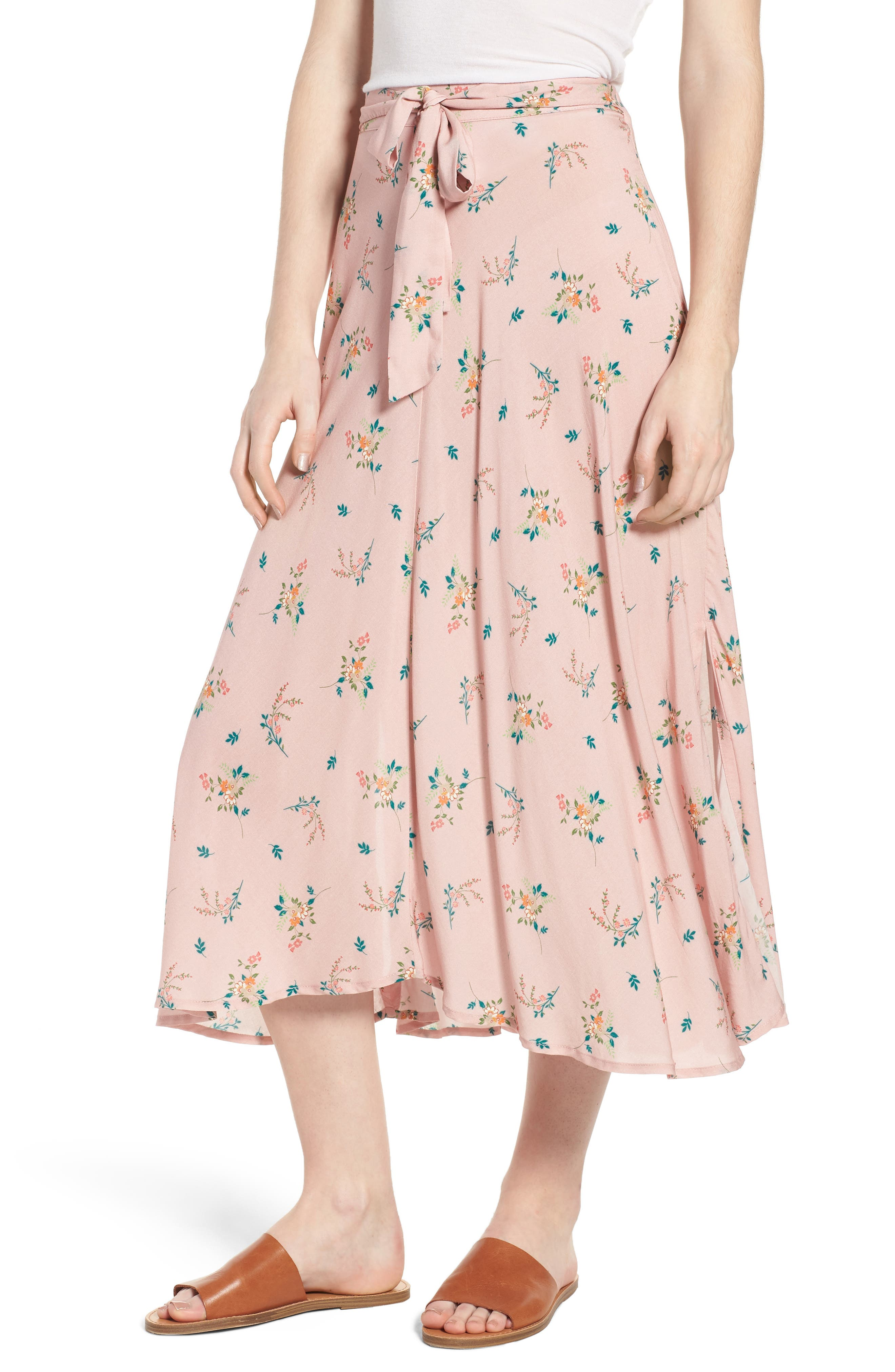 Floral Print Midi Skirt,                         Main,                         color, 657
